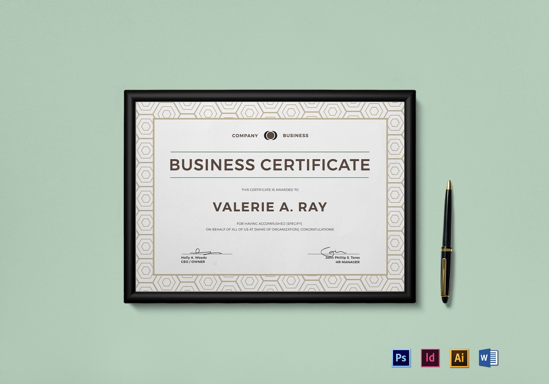 Business certificate design template in psd word illustrator indesign business certificate template wajeb Image collections