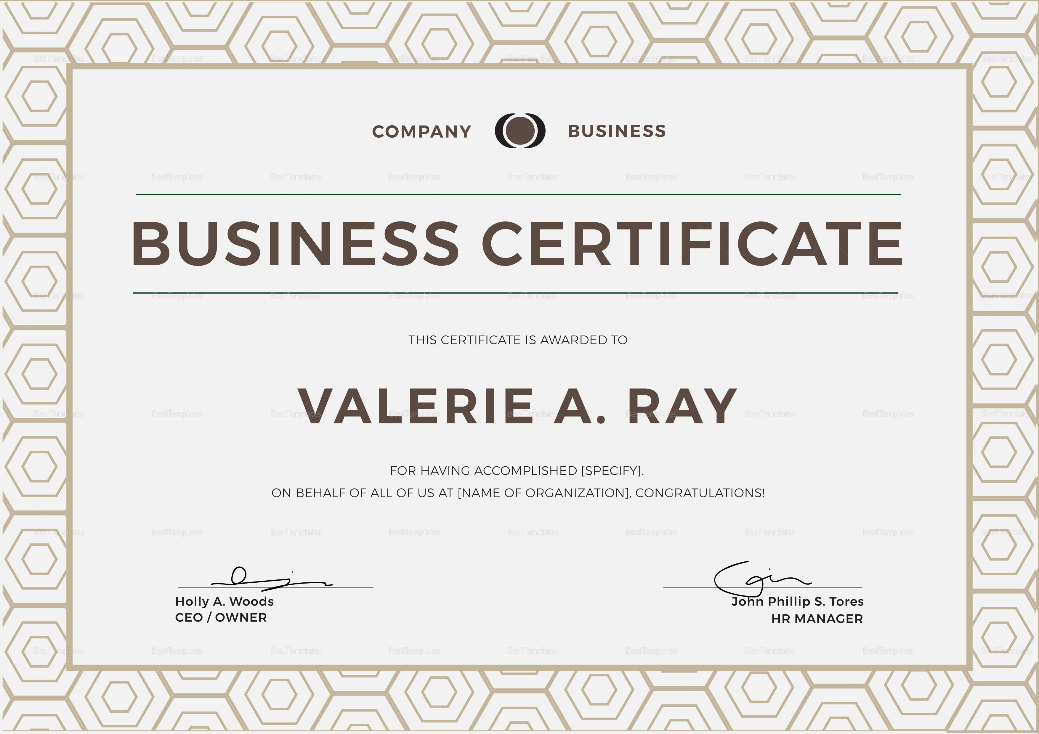 Sample Business Certificate Template