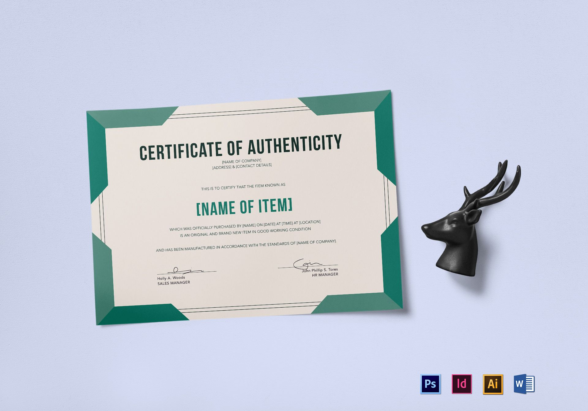 Elegant certificate of authenticity design template in psd for Certificate of authenticity template microsoft word