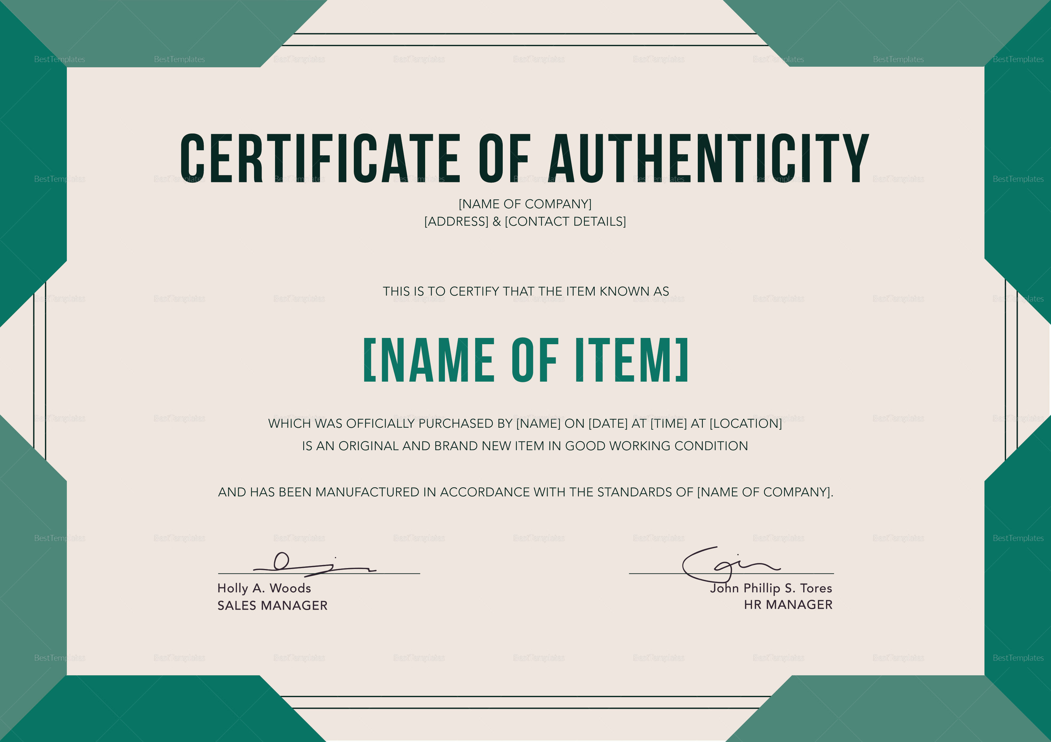 graphic regarding Printable Certificate of Authenticity titled Sophisticated Certification of Authenticity Template