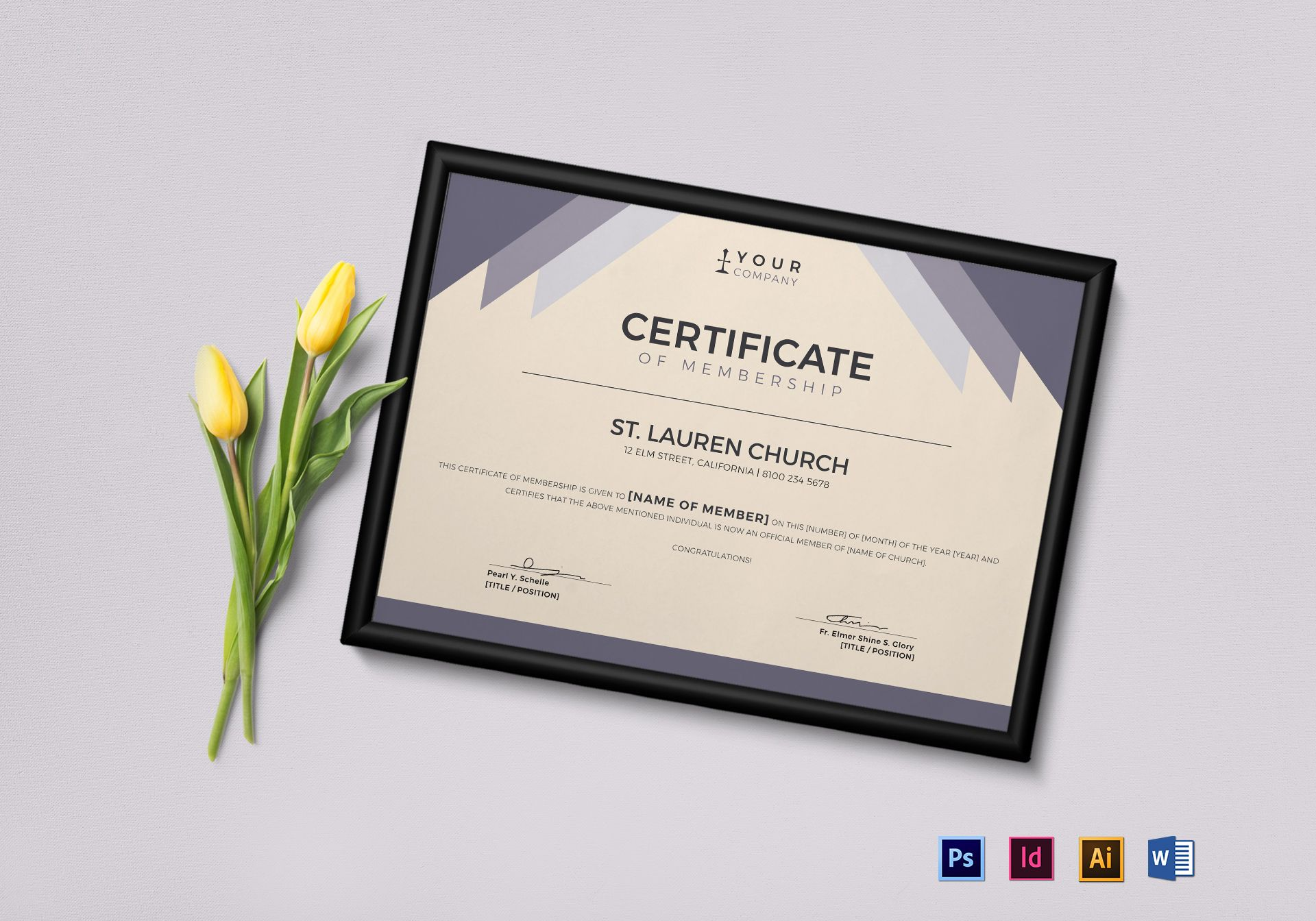 Church Membership Certificate Template  Official Certificate Template