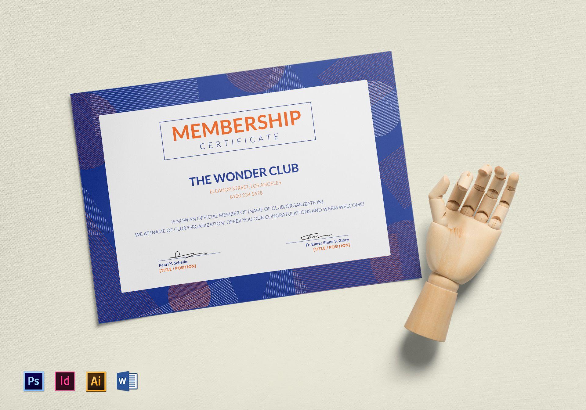 Club Membership Certificate Template