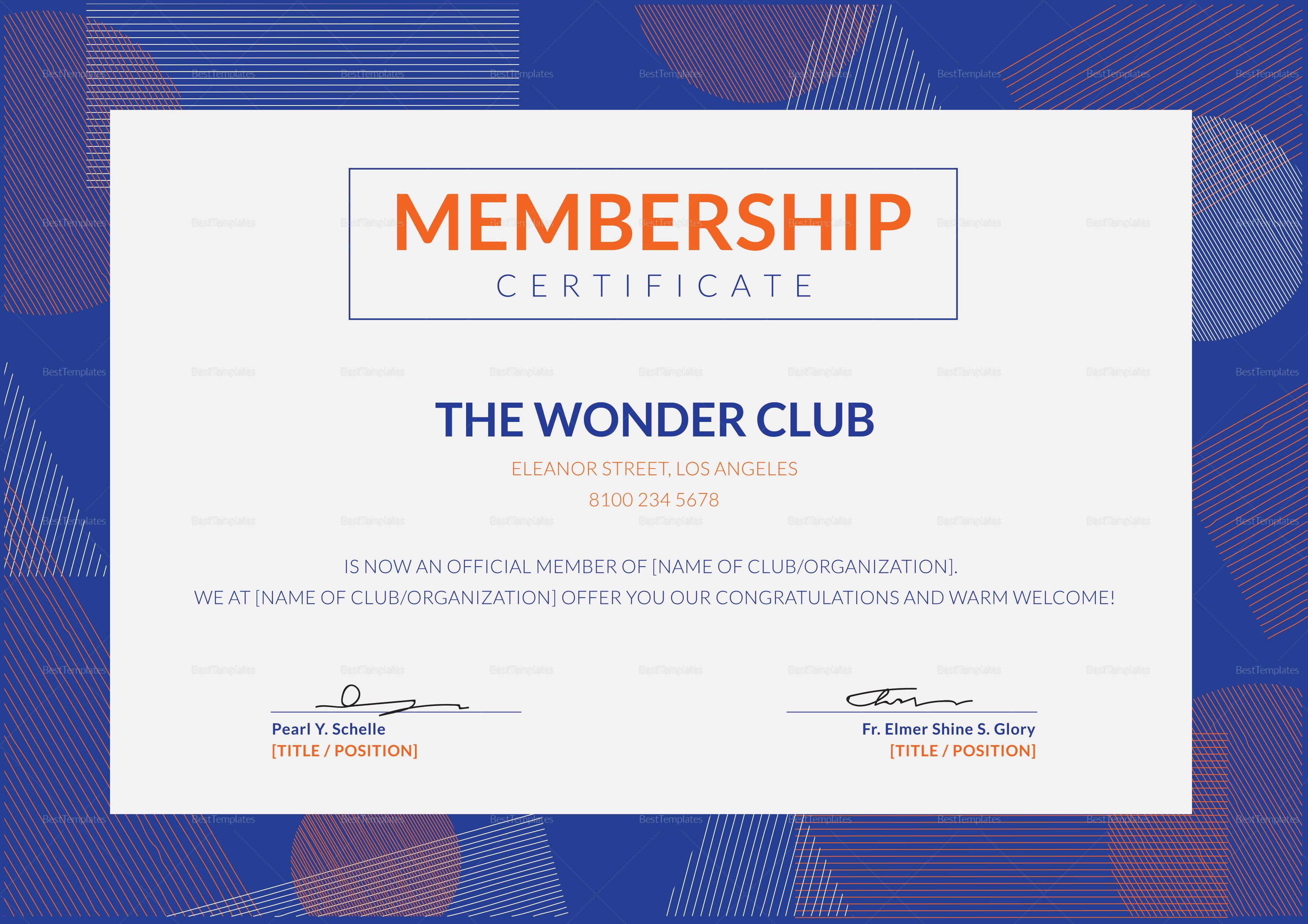 Club Membership Certificate Template to Edit