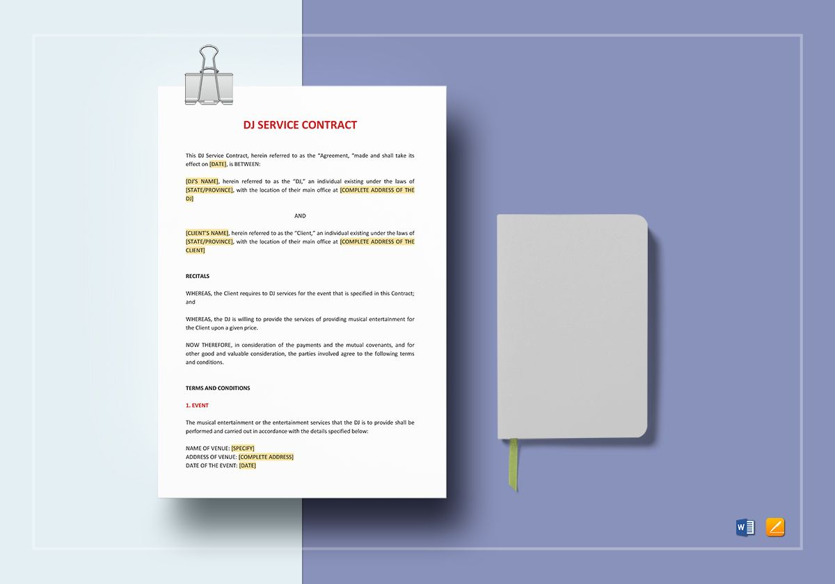 DJ Service Contract Template in Word, Google Docs, Apple Pages