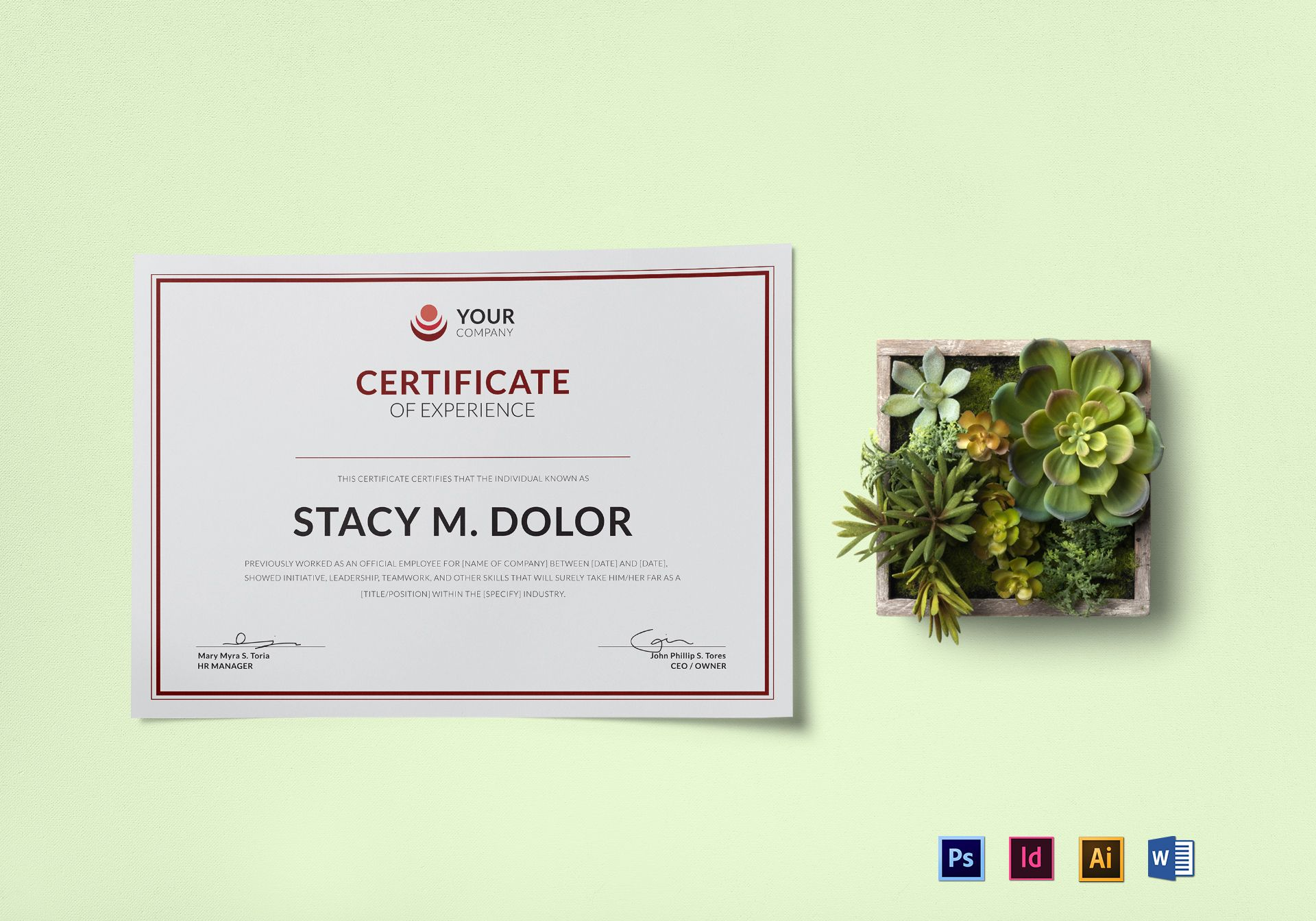 Employee Experience Certificate Design Template In Psd Word