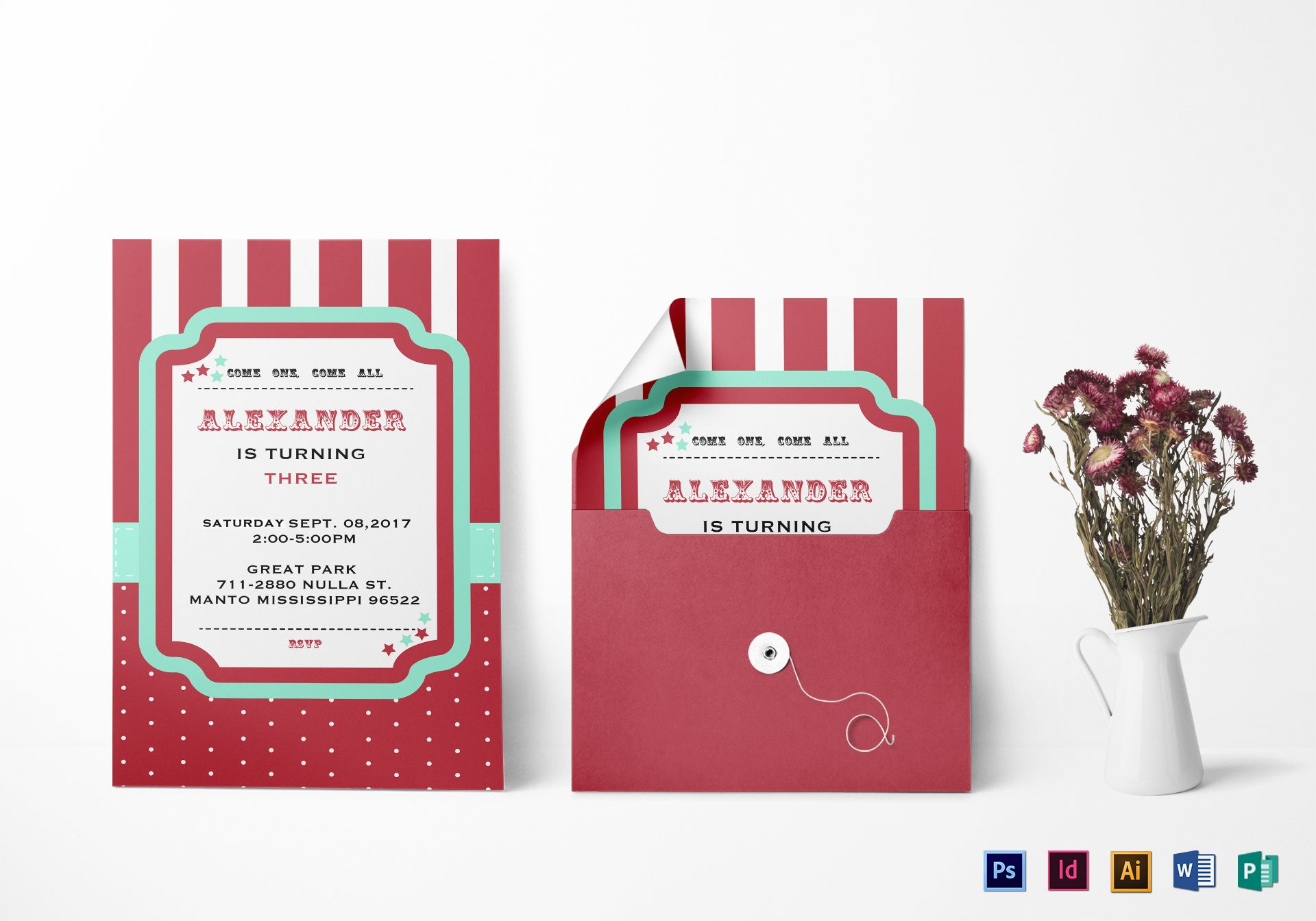 Carnival Birthday Invitation Design Template in PSD, Word, Publisher ...