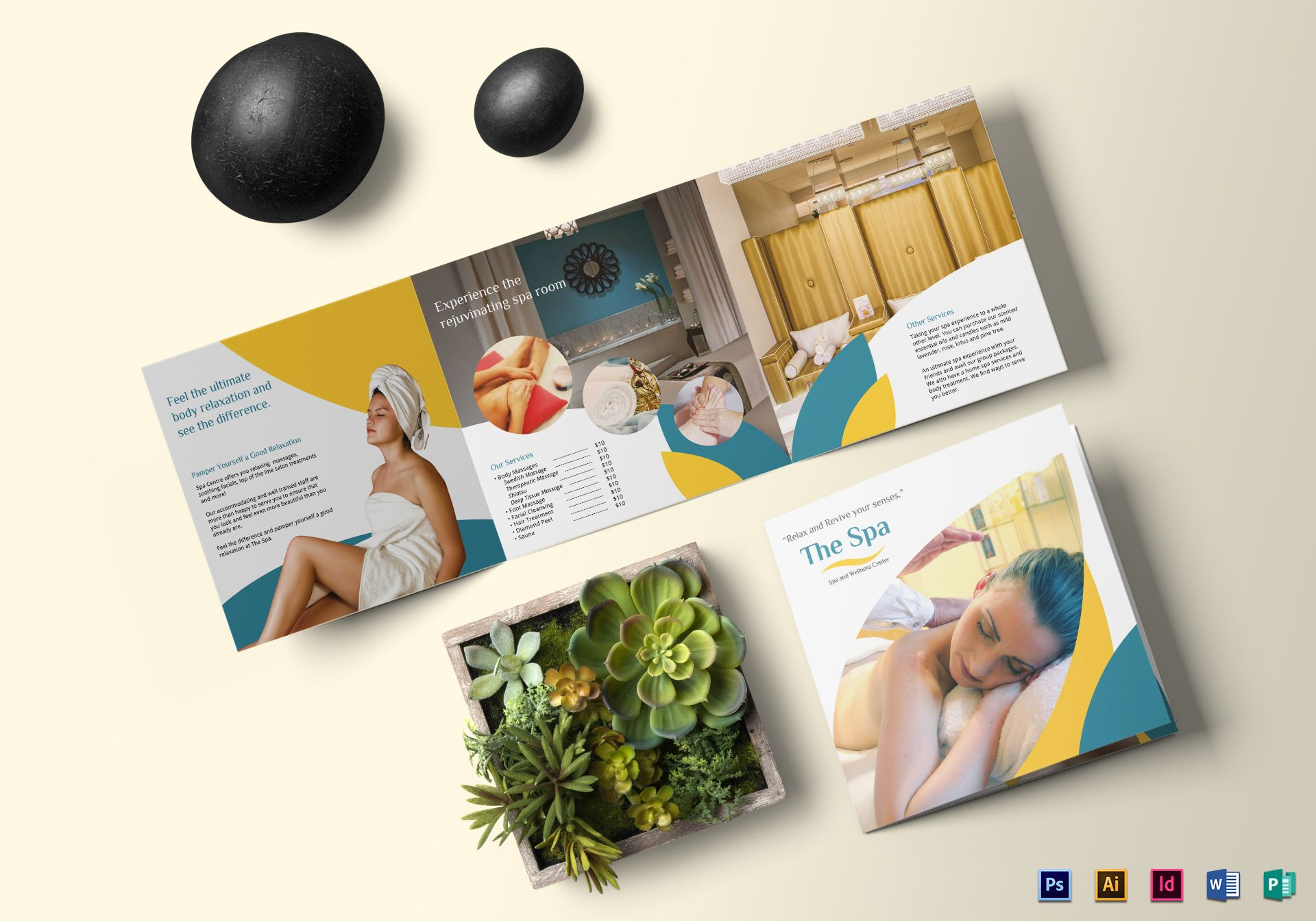 Square Spa Brochure Design Template in PSD, Word, Publisher ...