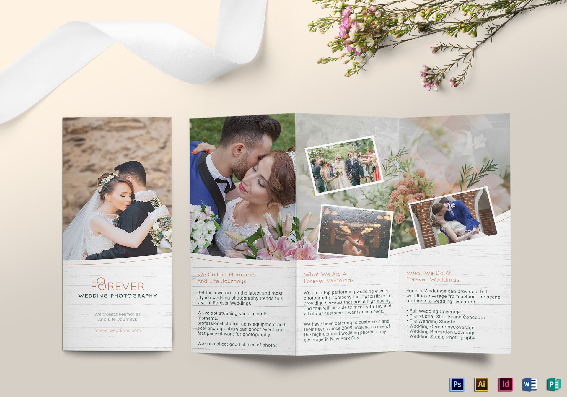 Tri fold wedding brochure design template in psd word for Planned giving brochures templates