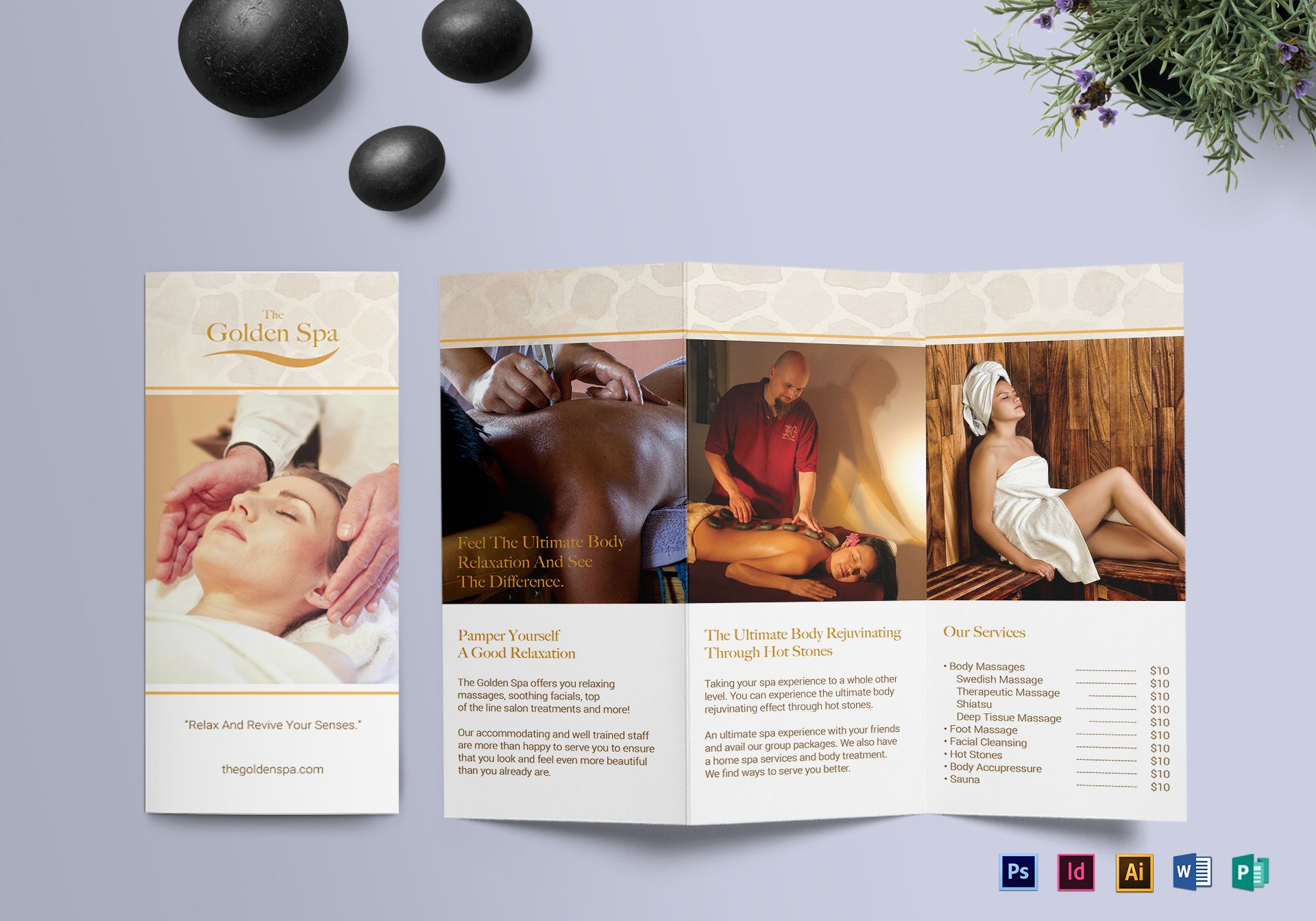 Tri-fold Spa Brochure Template