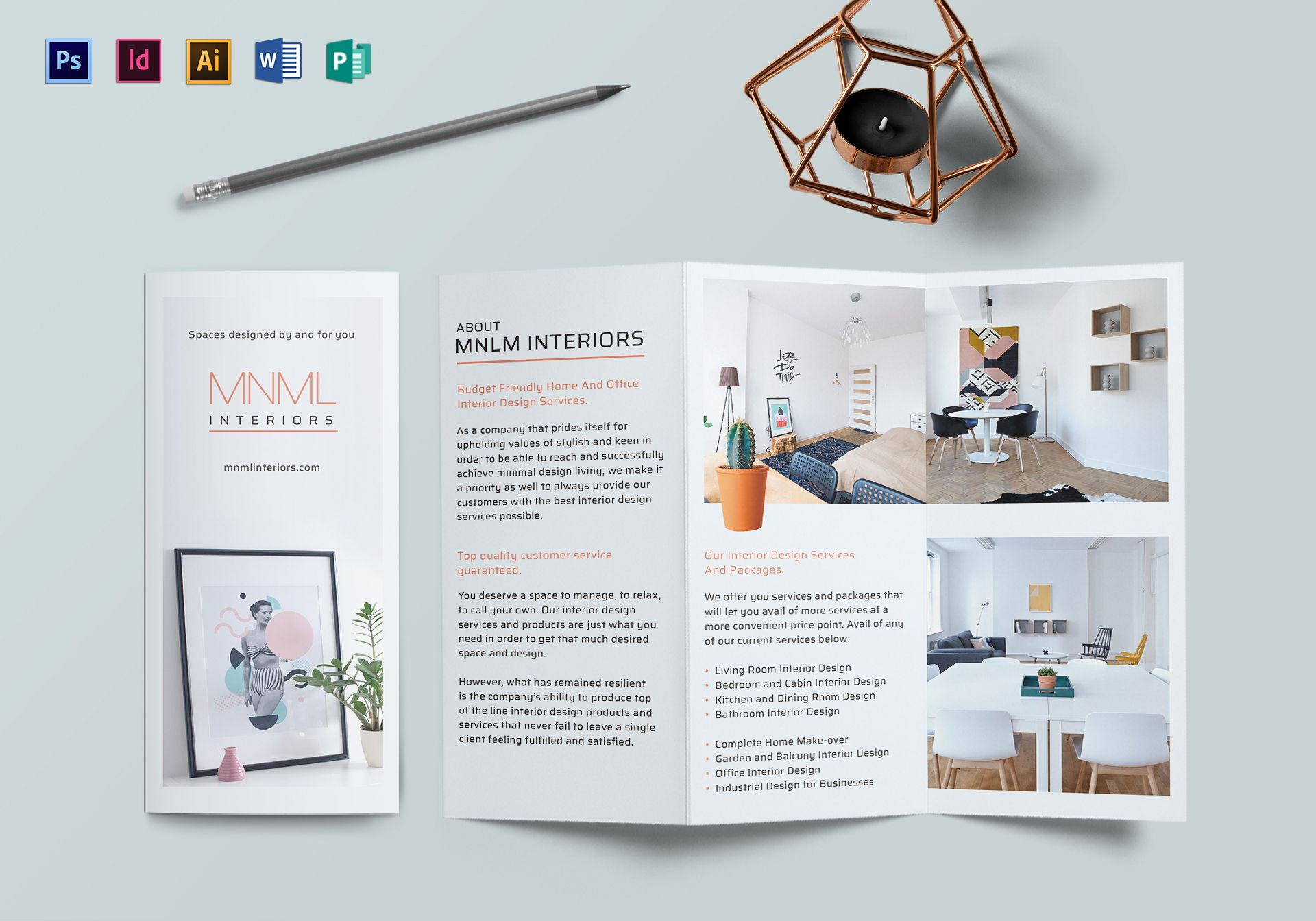 minimal interior brochure design template in psd  word