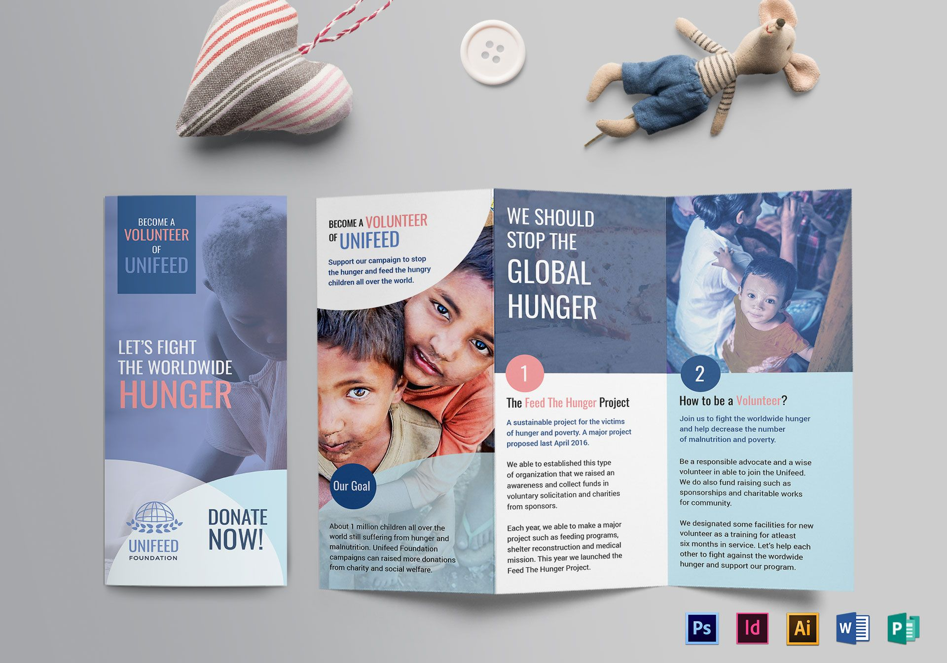 charity brochure design template in psd  word  publisher