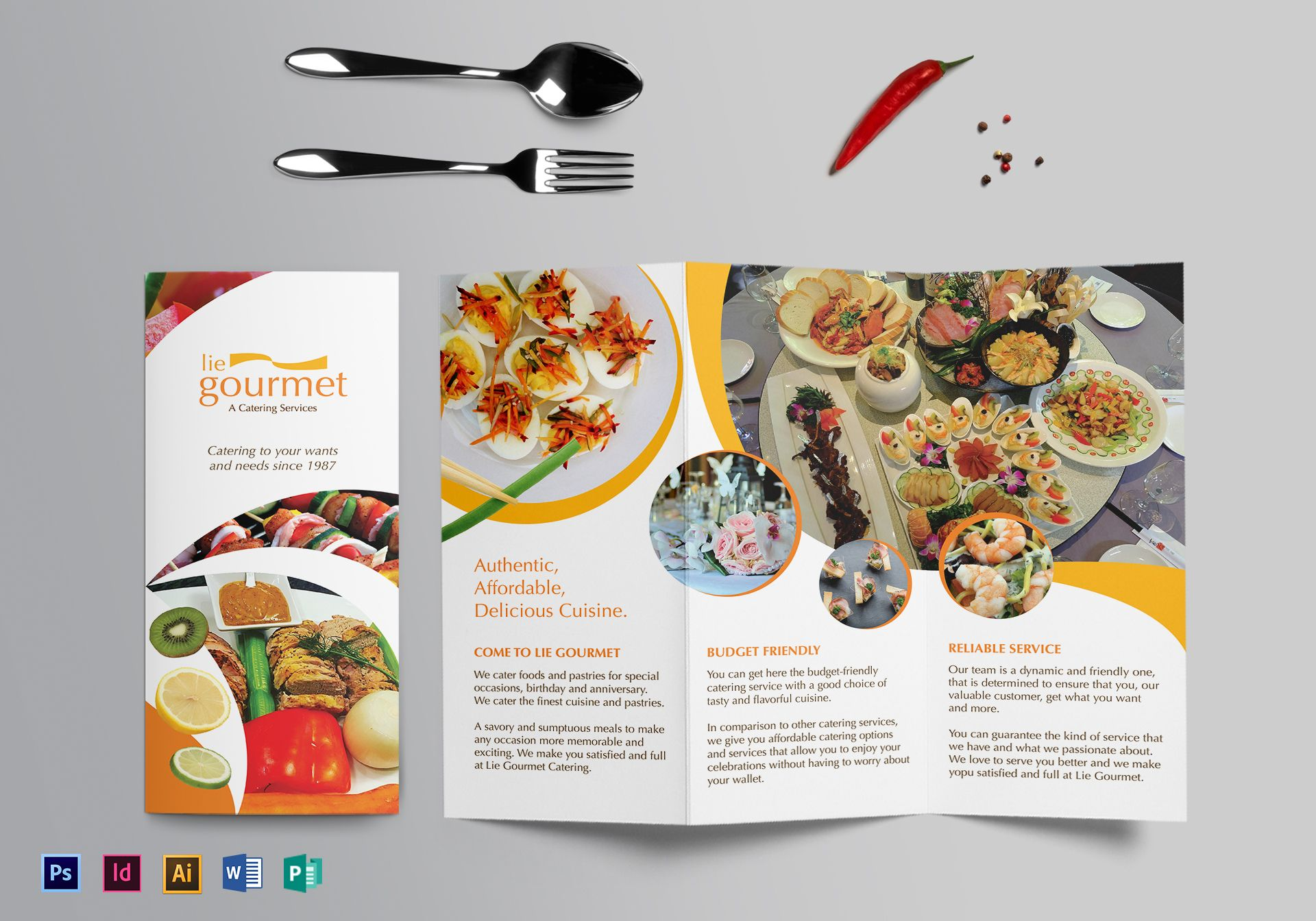 Catering brochure design template in psd word publisher for Catering brochure templates