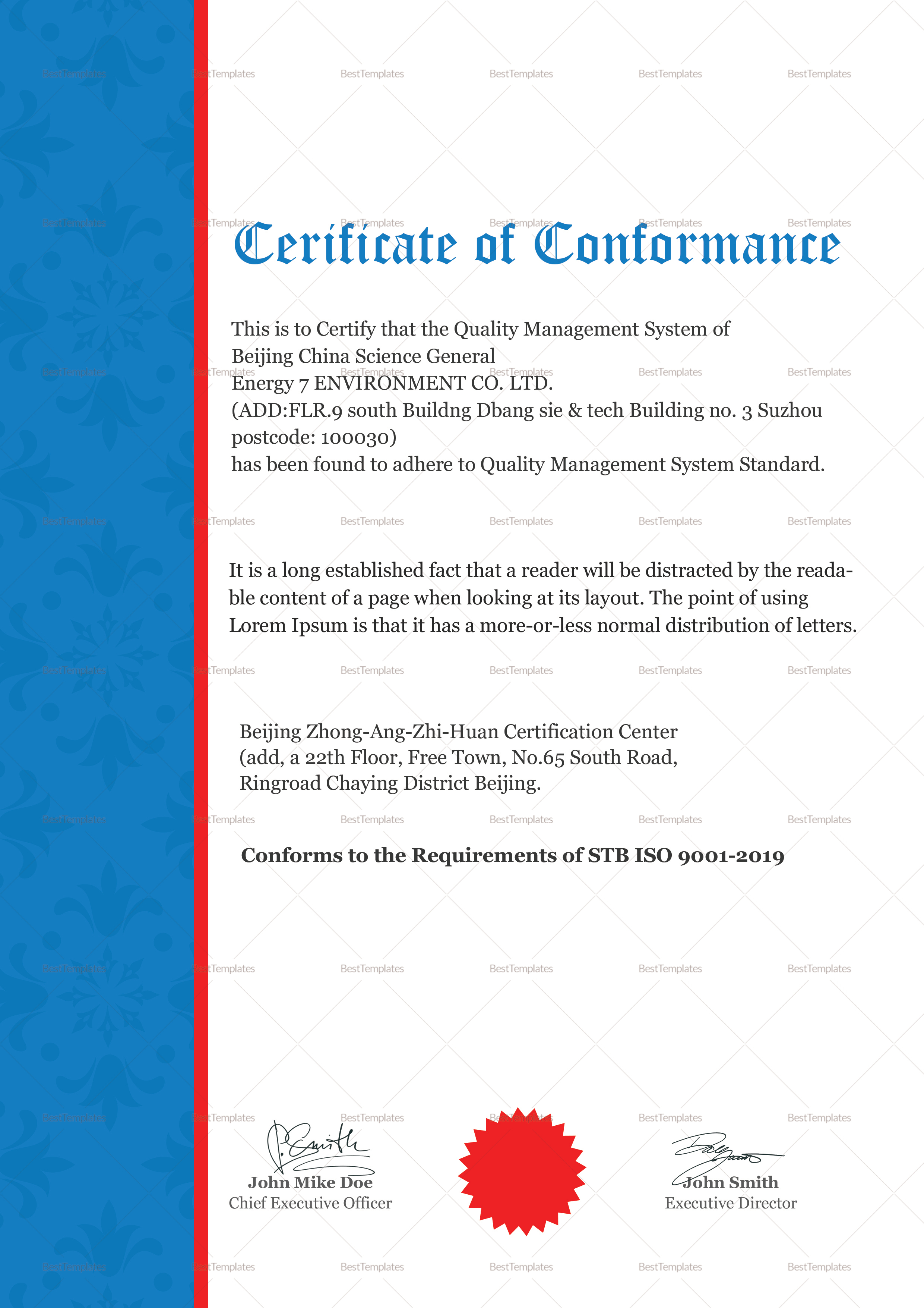 Quality Conformance Certificate Template