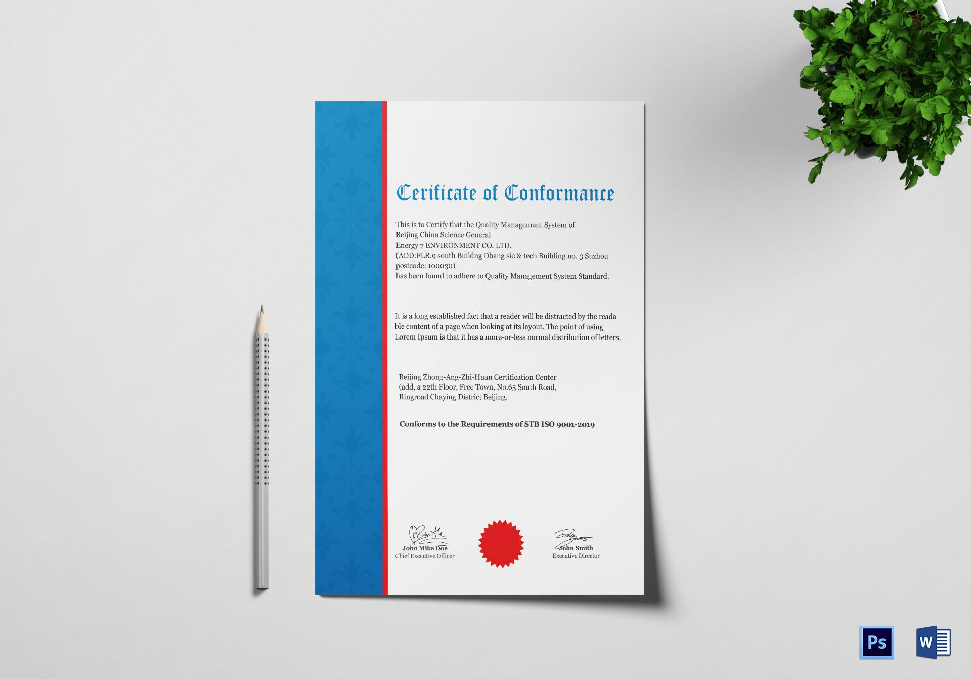 Quality Conformance Certificate Design Template In Psd Word