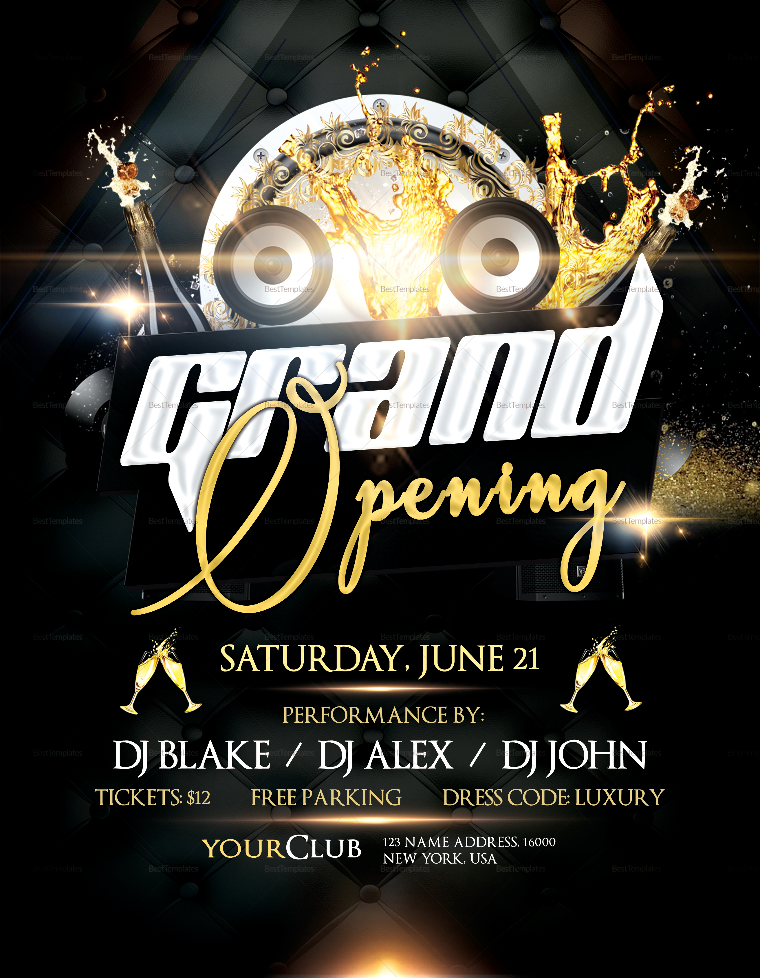 club grand opening flyer design template in psd word