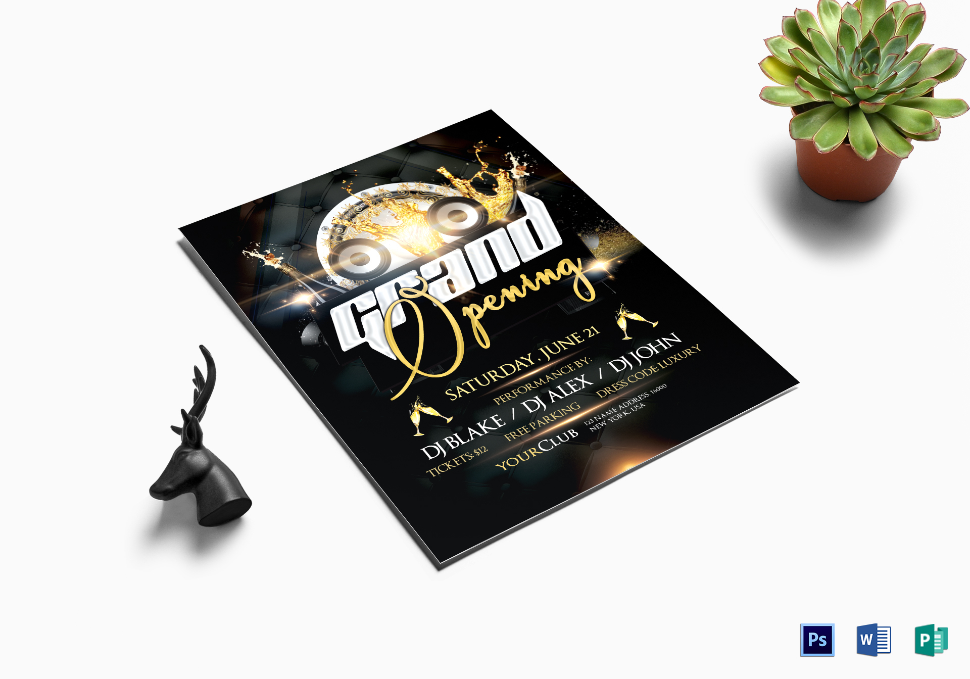 Club Grand Opening Flyer Design Template in PSD, Word, Publisher