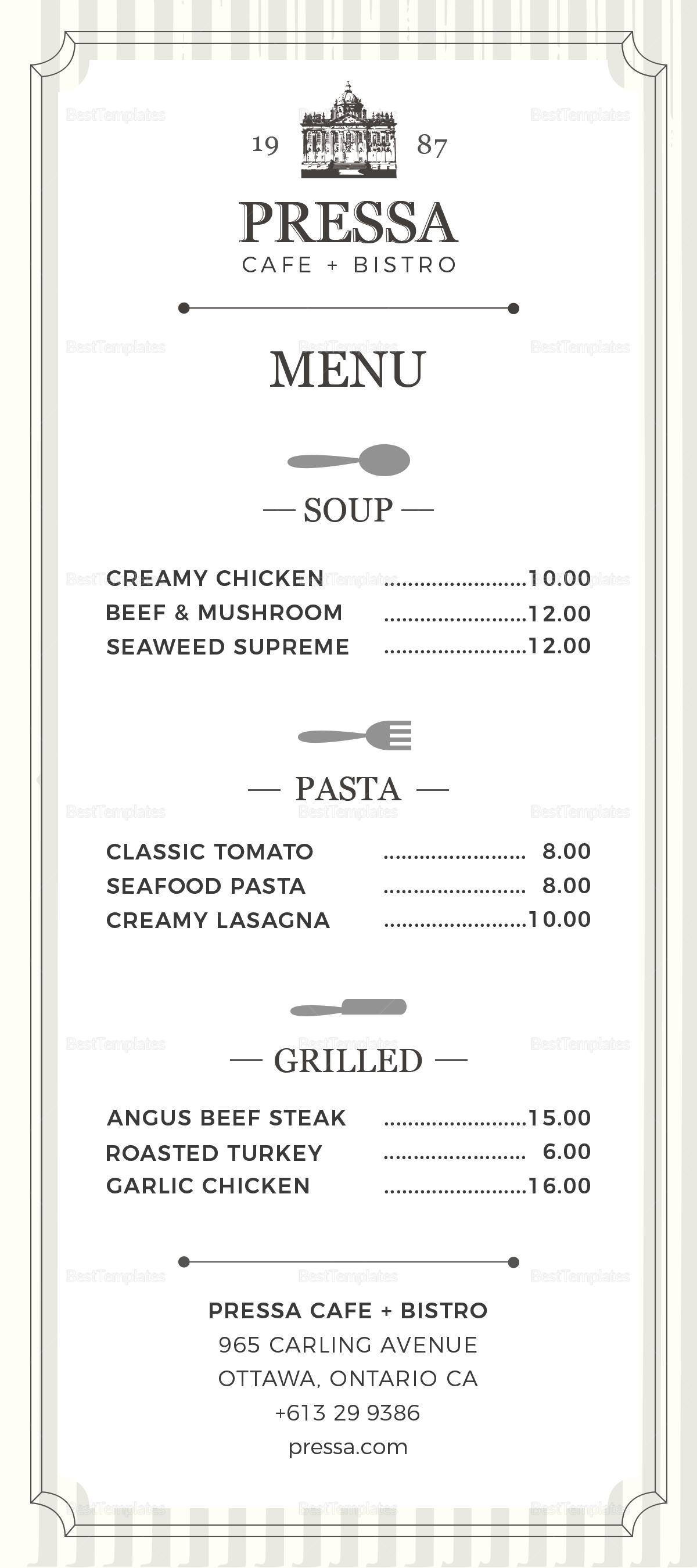 Sample Classy Food Menu Template