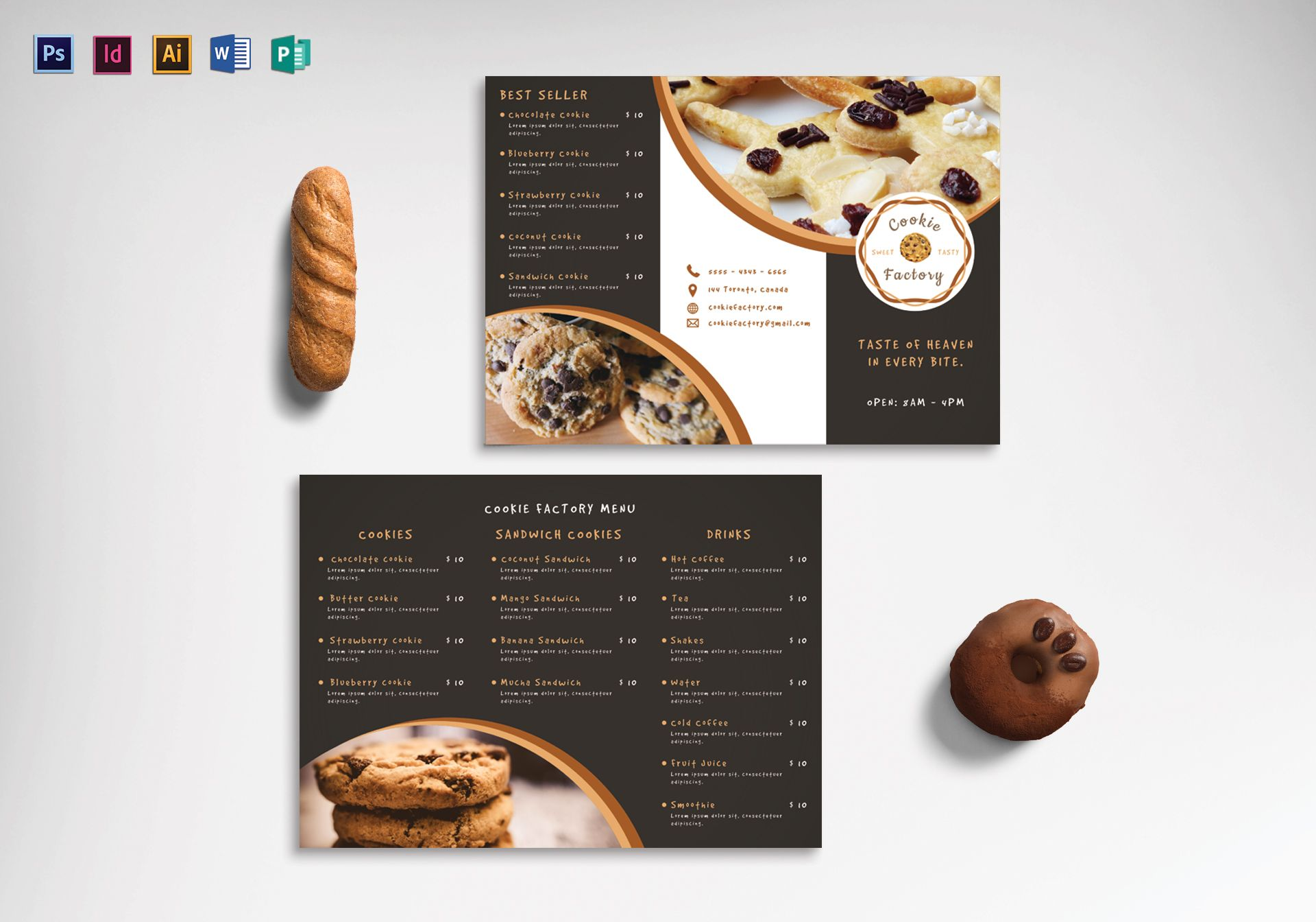Cookie Shop Tri-Fold Menu