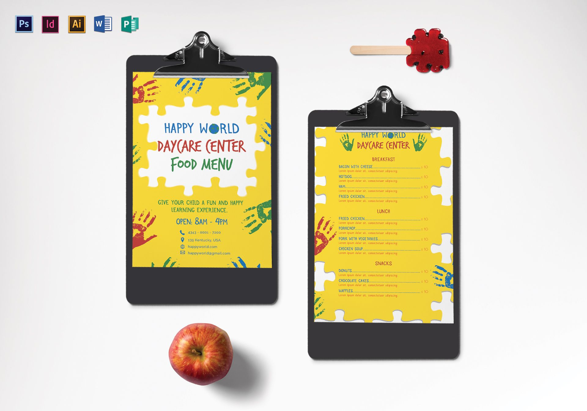 daycare center menu design template in psd word publisher