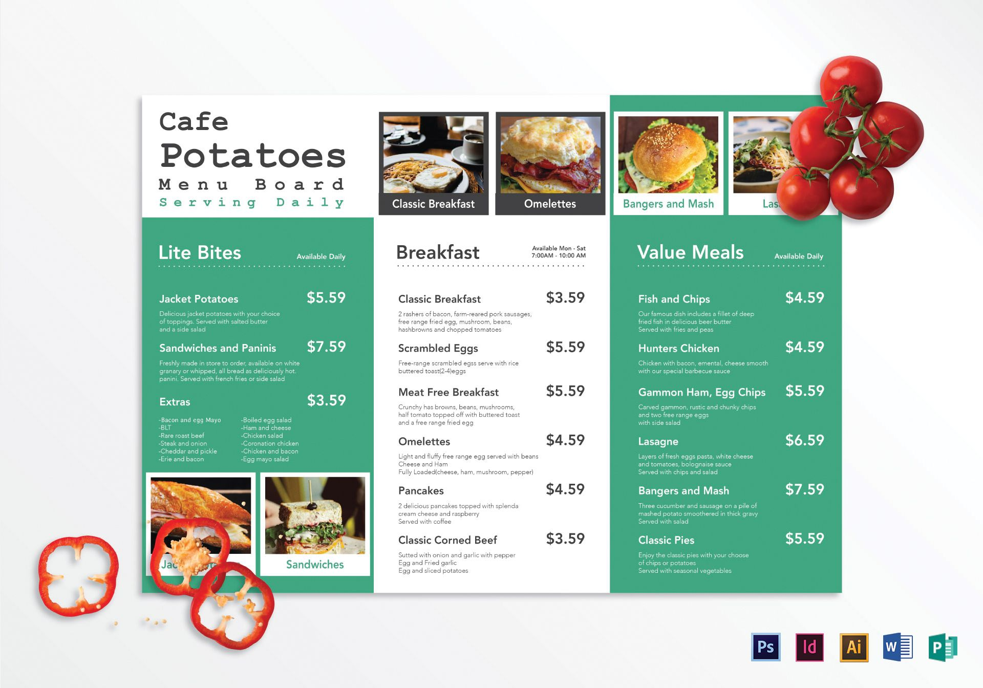 Cafe Menu Board Template