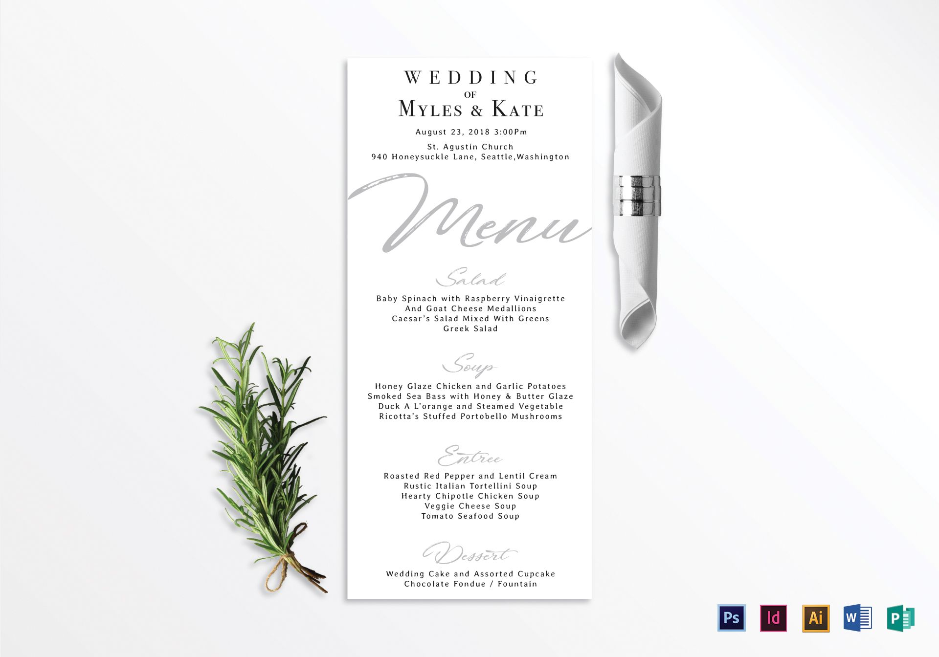 wedding menu card design template in psd  word  publisher