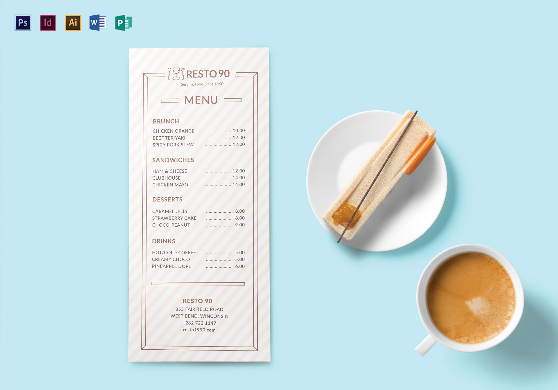 restaurant menu templates publisher