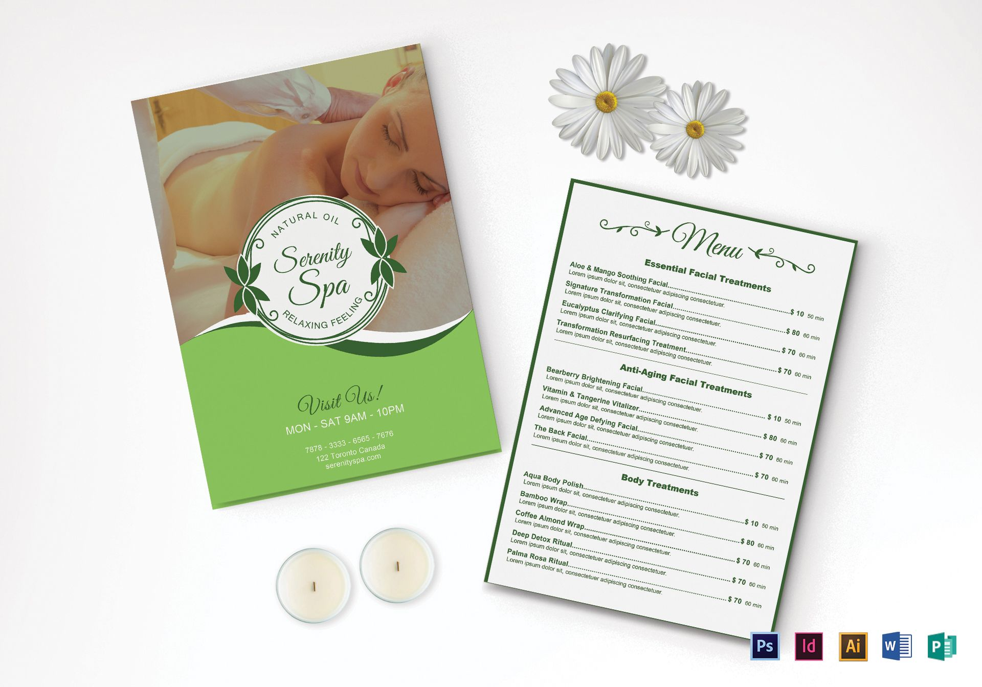 Spa Menu Design Template in PSD, Word, Publisher ...