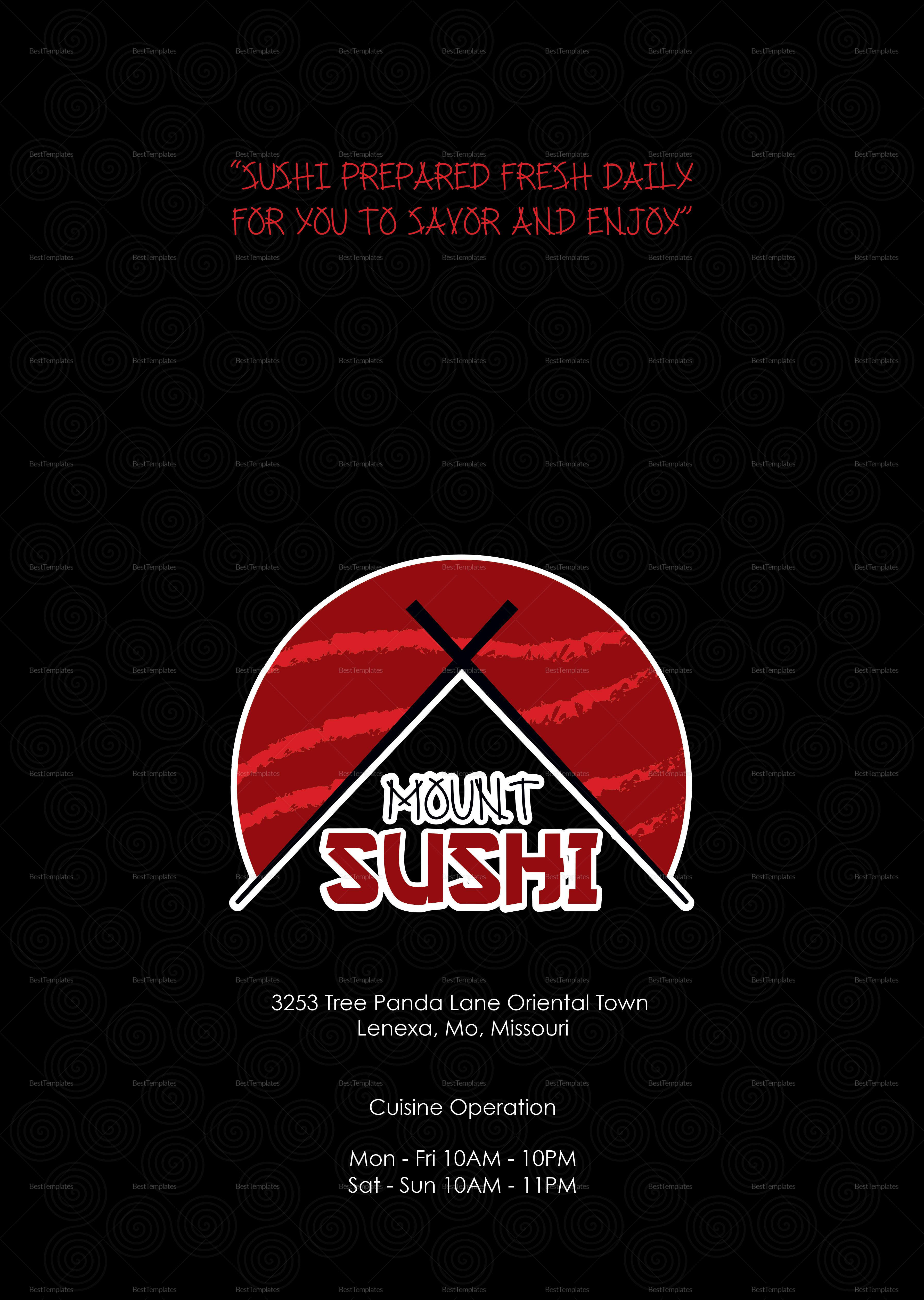 Sample Sushi Menu Template