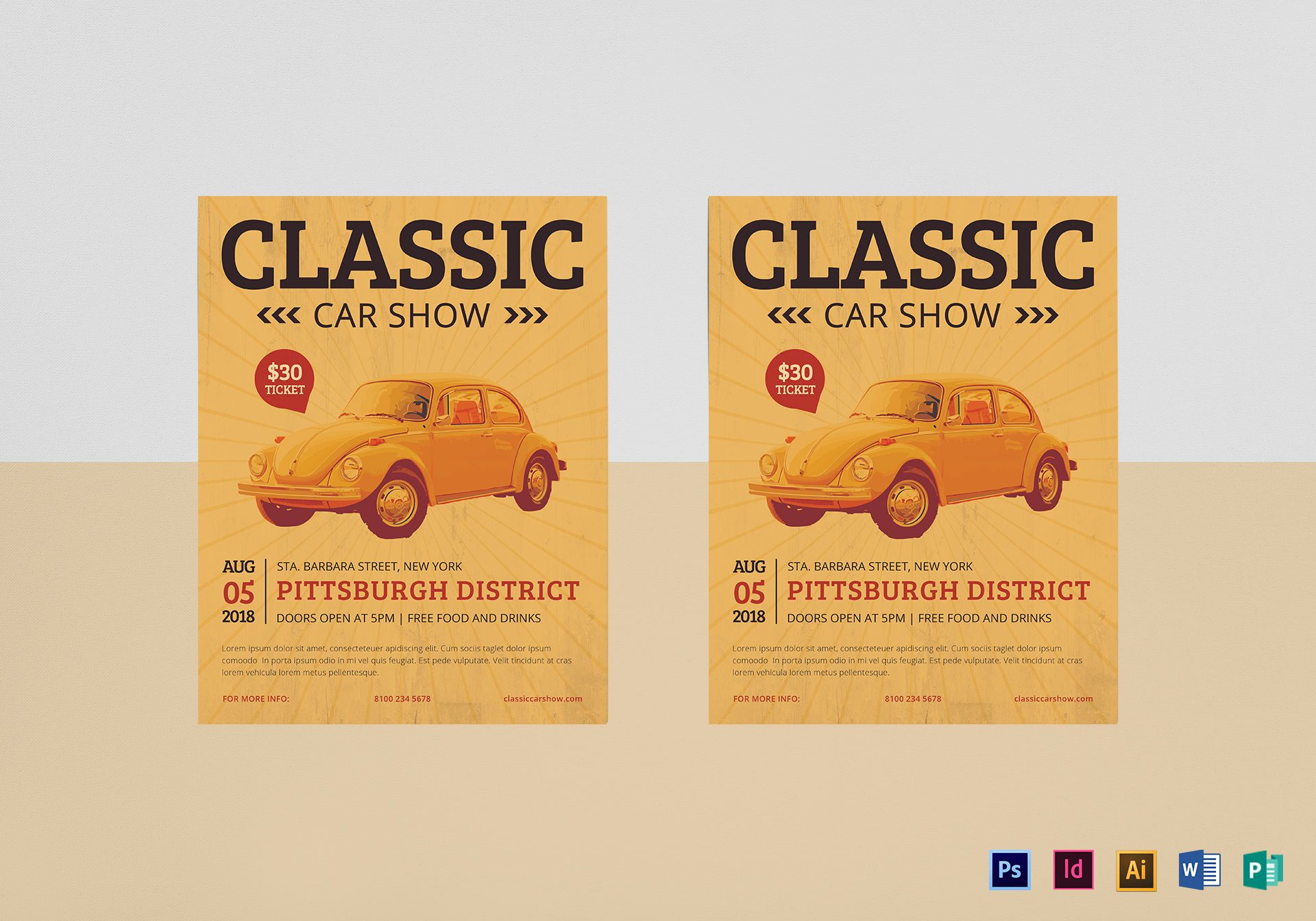 Classic Car Show Flyer Design Template In PSD Word Publisher - Car show flyer template word