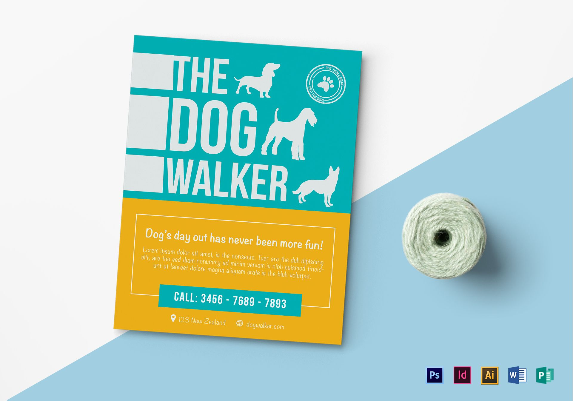 Dog walker flyer design template in psd word publisher for Dog walking flyer template free