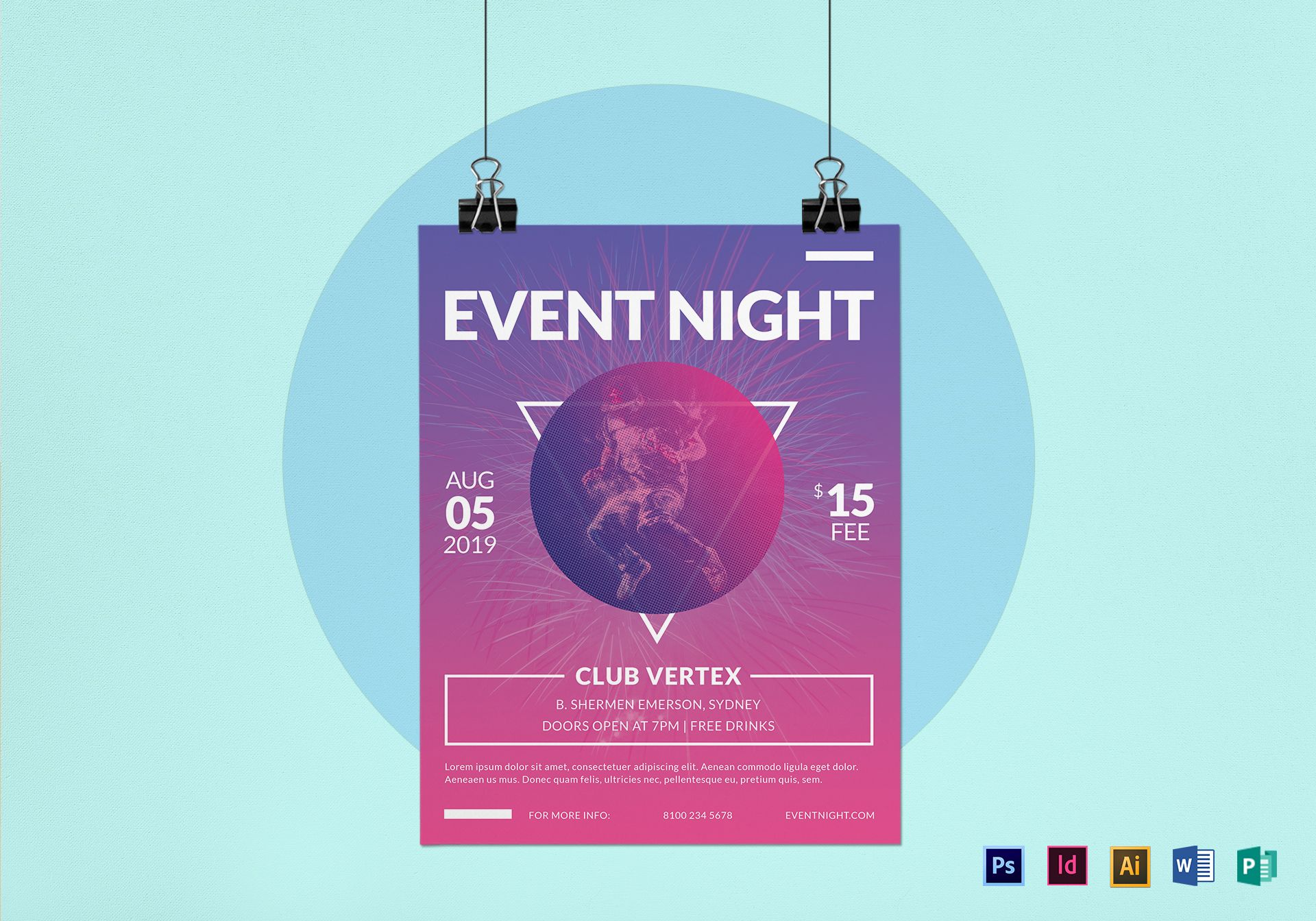 Purple Event Night Flyer Template