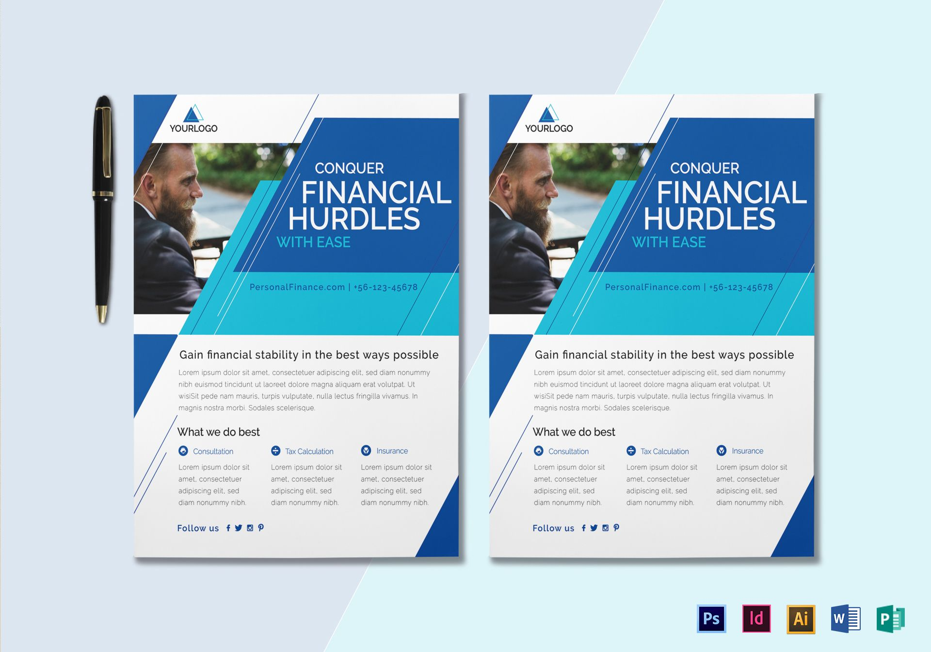 Personal finance services flyer design template in psd for Personal brochure templates