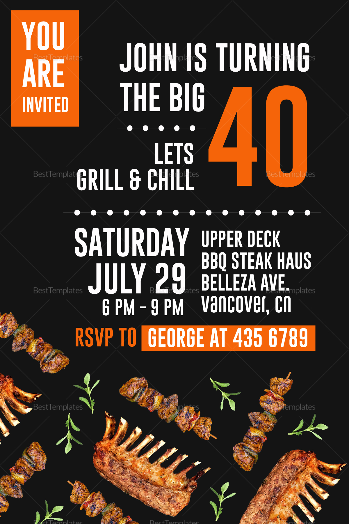 Birthday Steak and BBQ Invitation