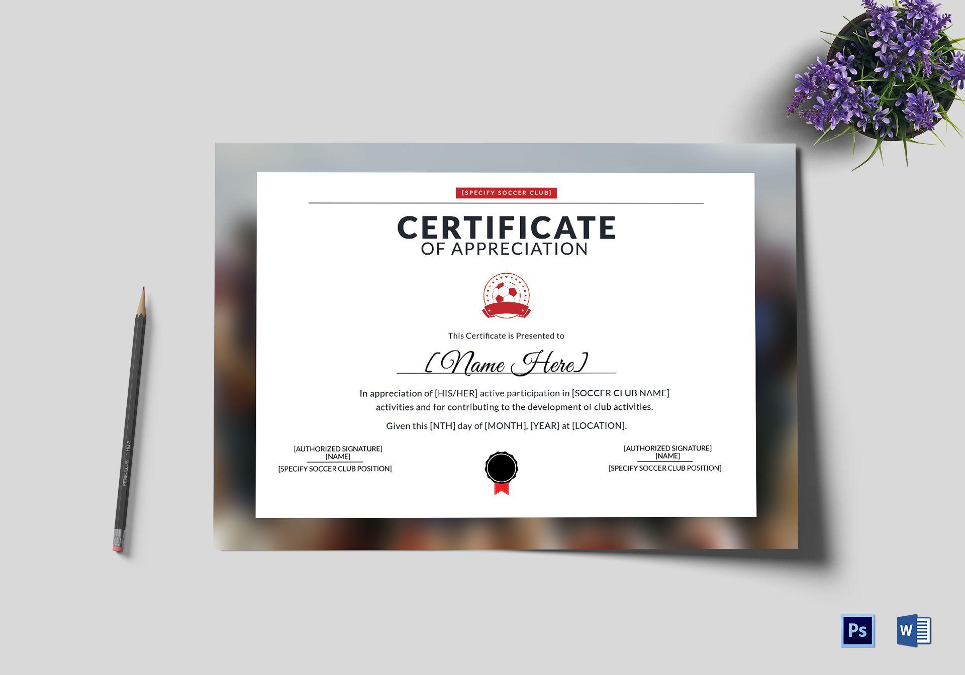 soccer appreciation certificate design template in psd word