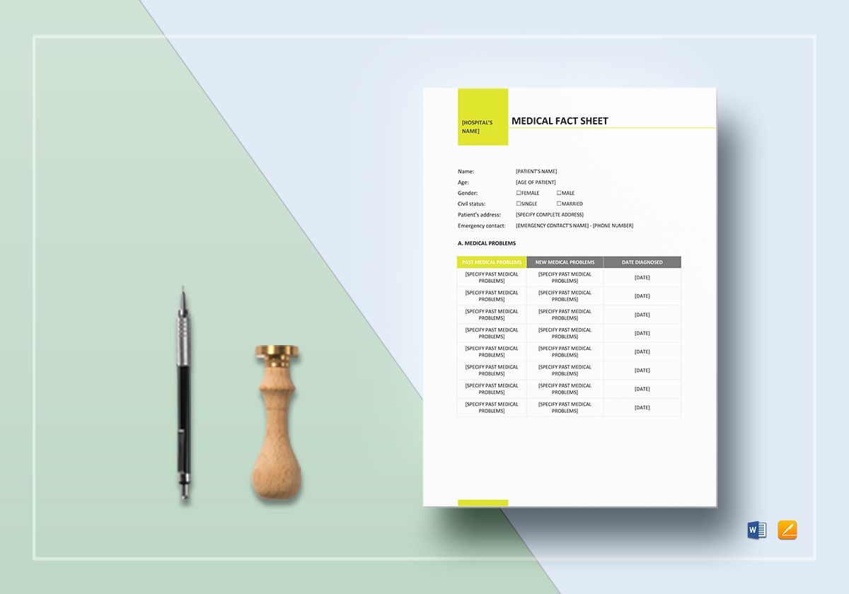 Medical Fact Sheet Template