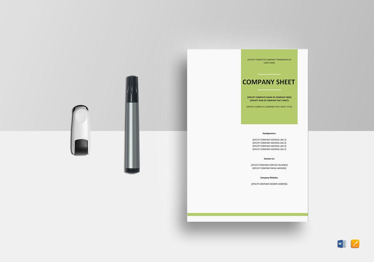 Company Fact Sheet Template