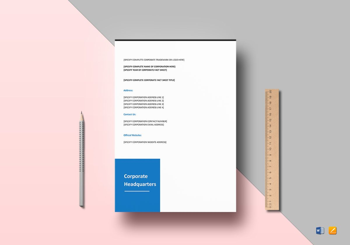 Corporate Fact Sheet Template in Word, Google Docs, Apple Pages