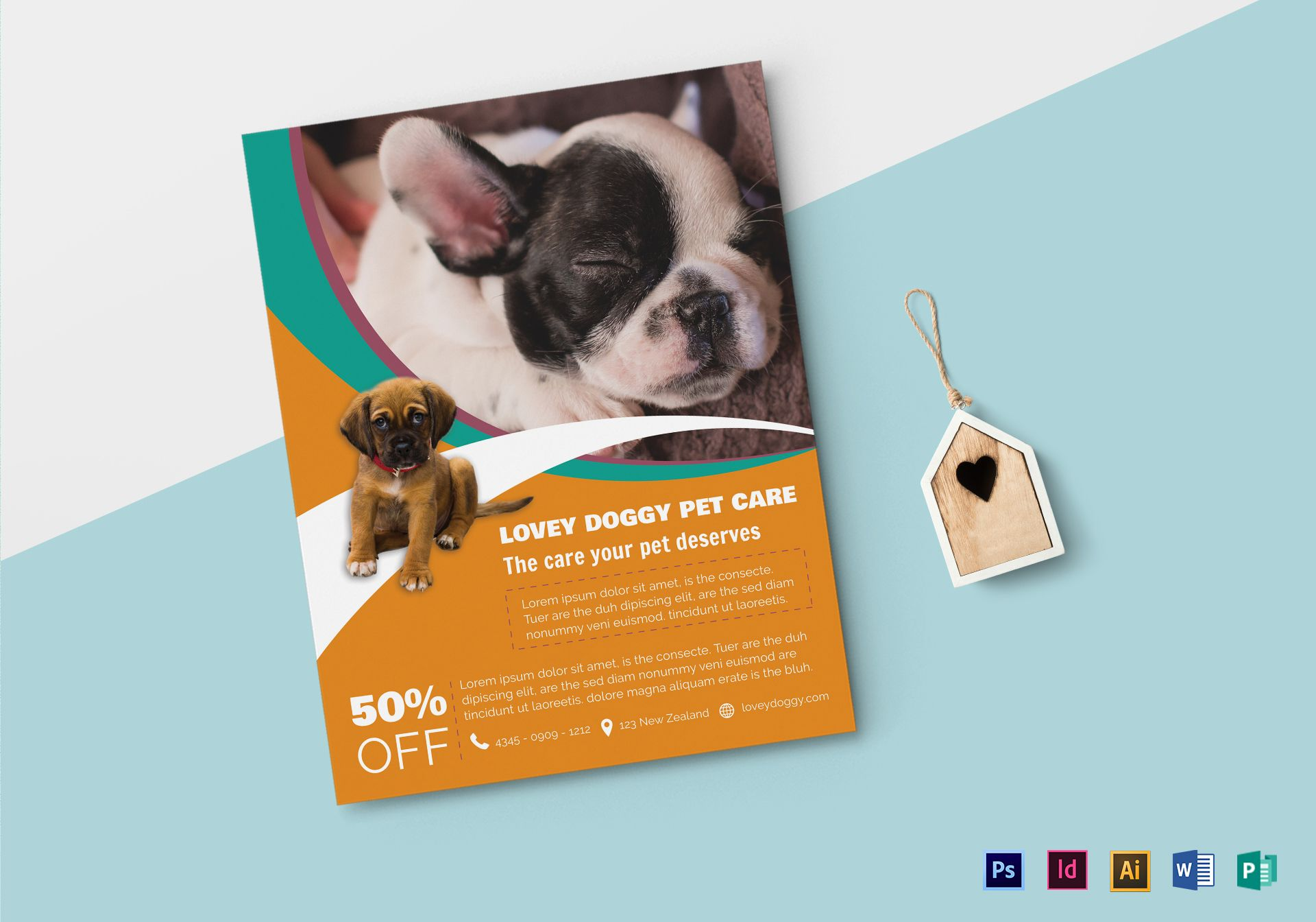 Pet Care Flyer Design Template in PSD, Word, Publisher, Illustrator ...