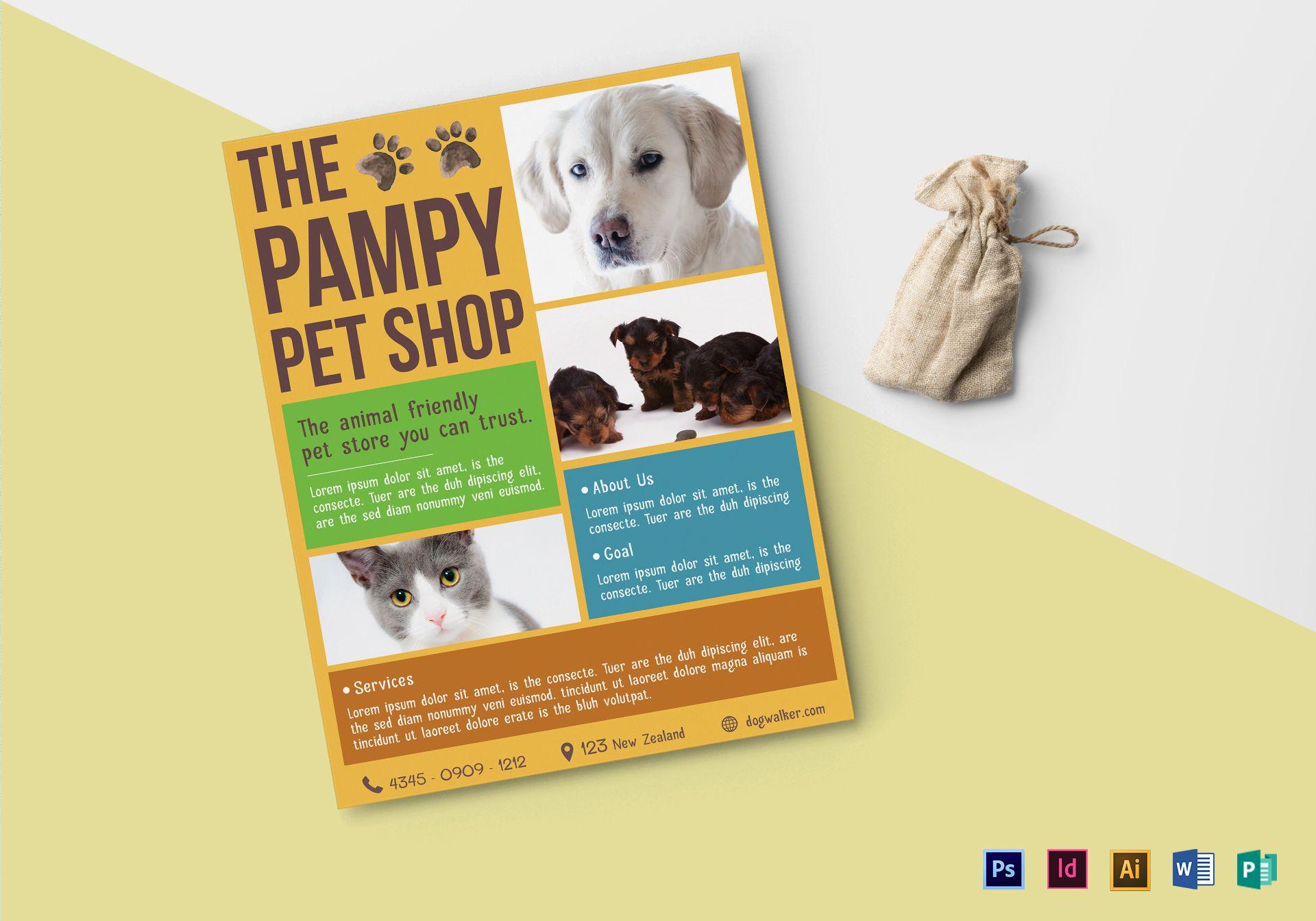 pet shop flyer design template in psd word publisher illustrator