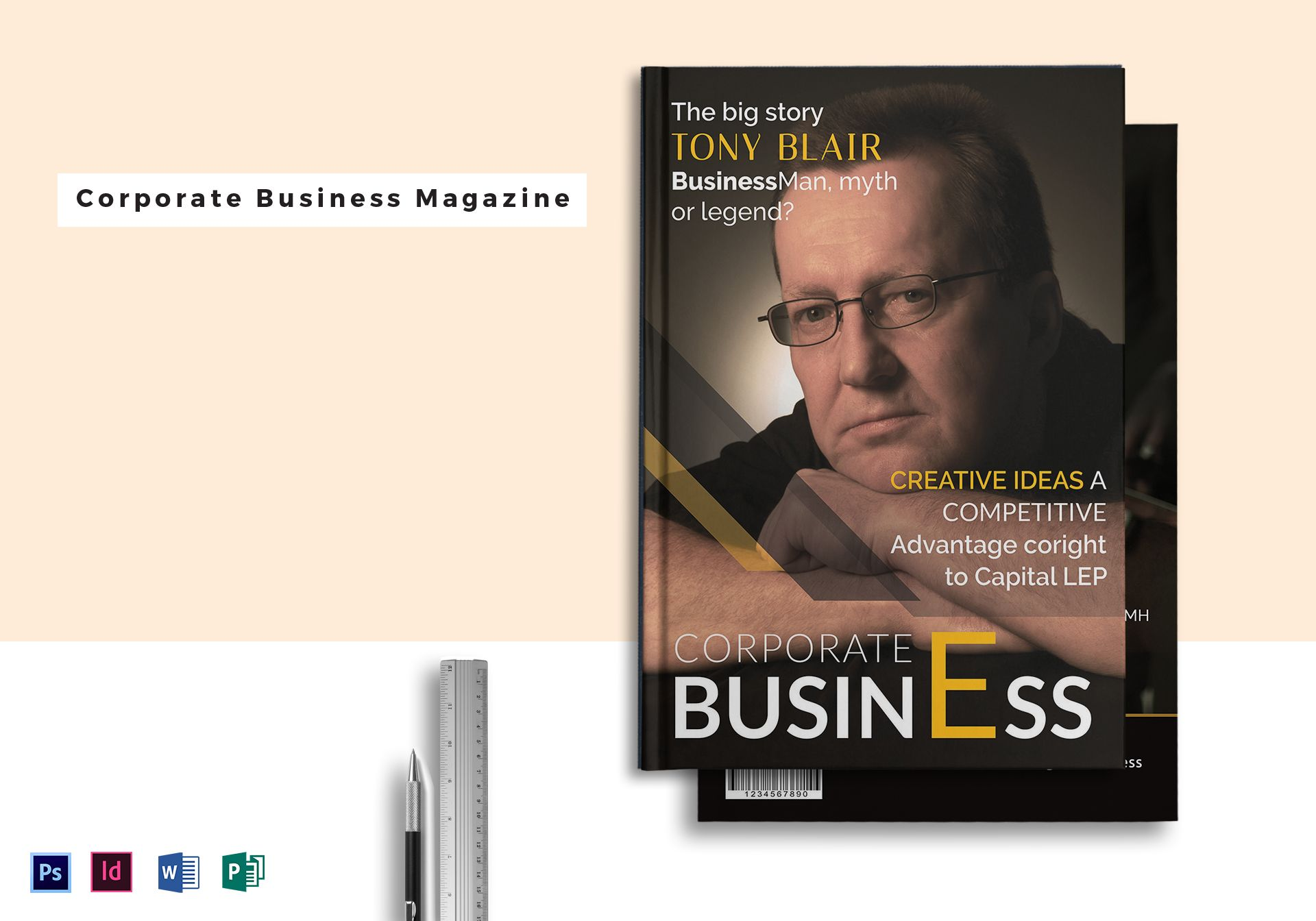 corporate business magazine mock up