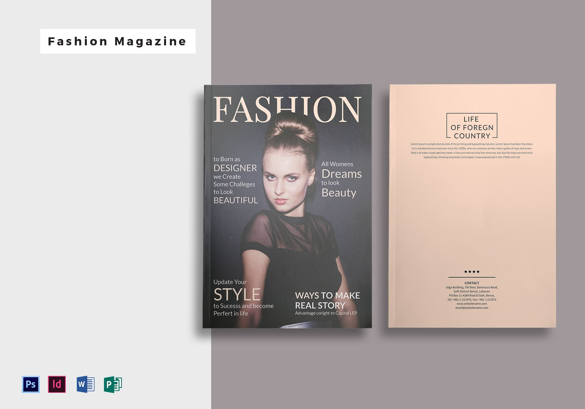 28 Pages Fashion Magazine Template in PSD, Word, Publisher, InDesign
