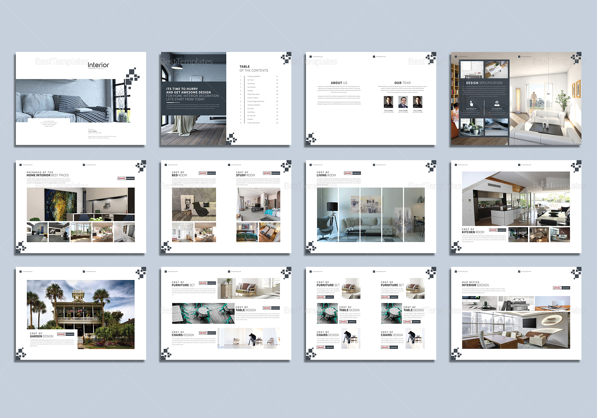 Printable interior design magazine template in psd word for Indesign interior