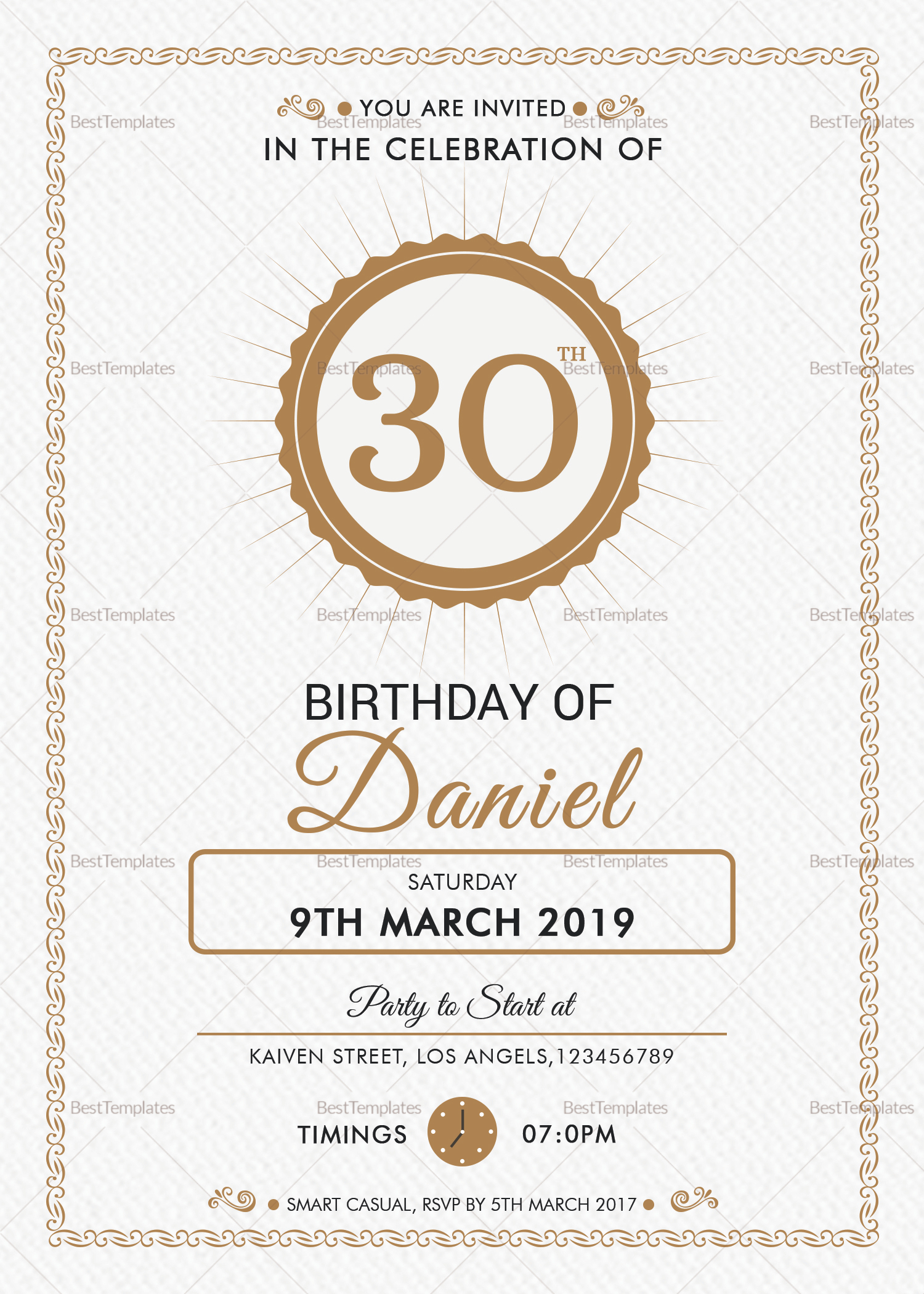 Adult Birthday Party Invitation Design Template