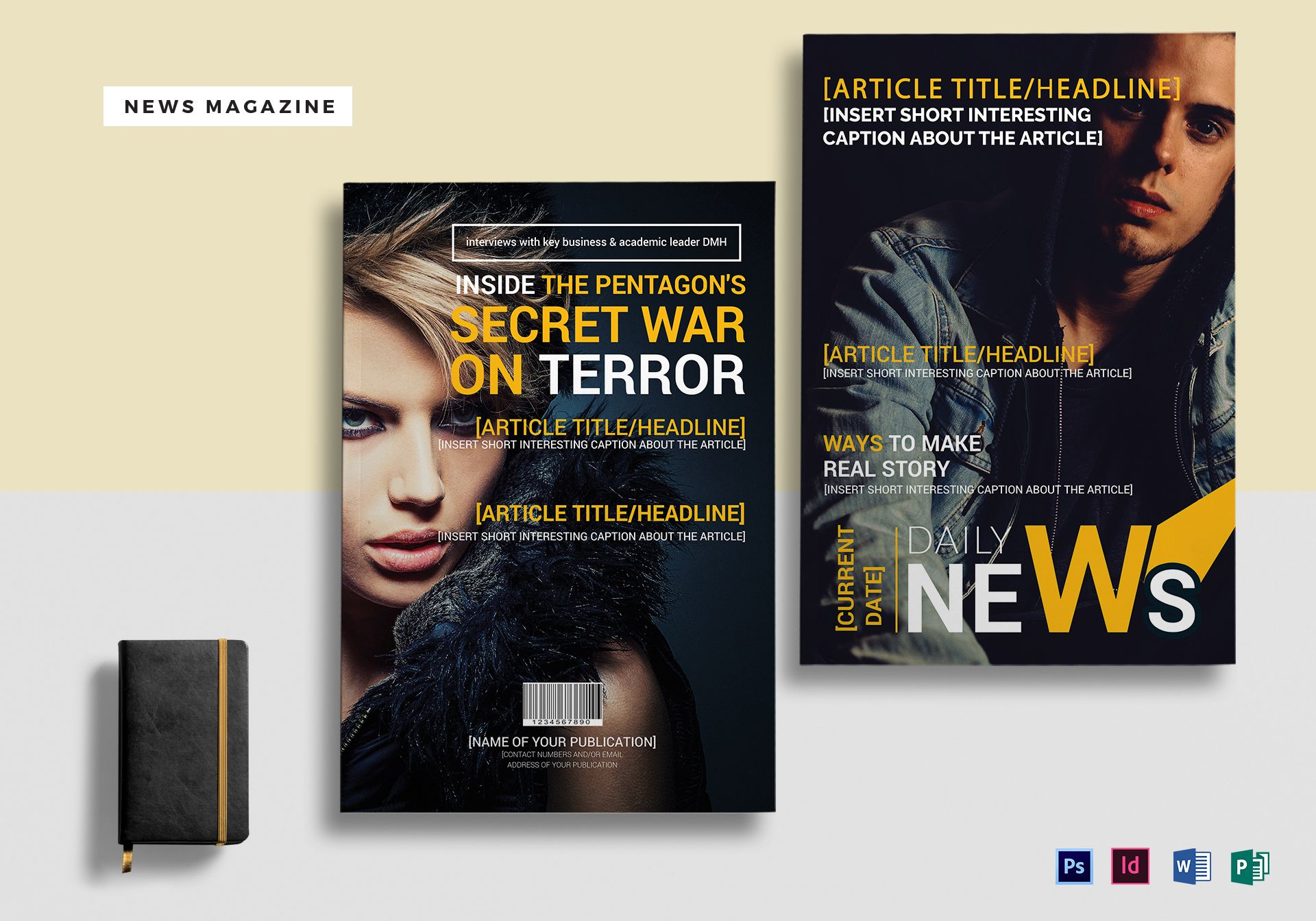 News Magazine Template in PSD, Word, Publisher, InDesign