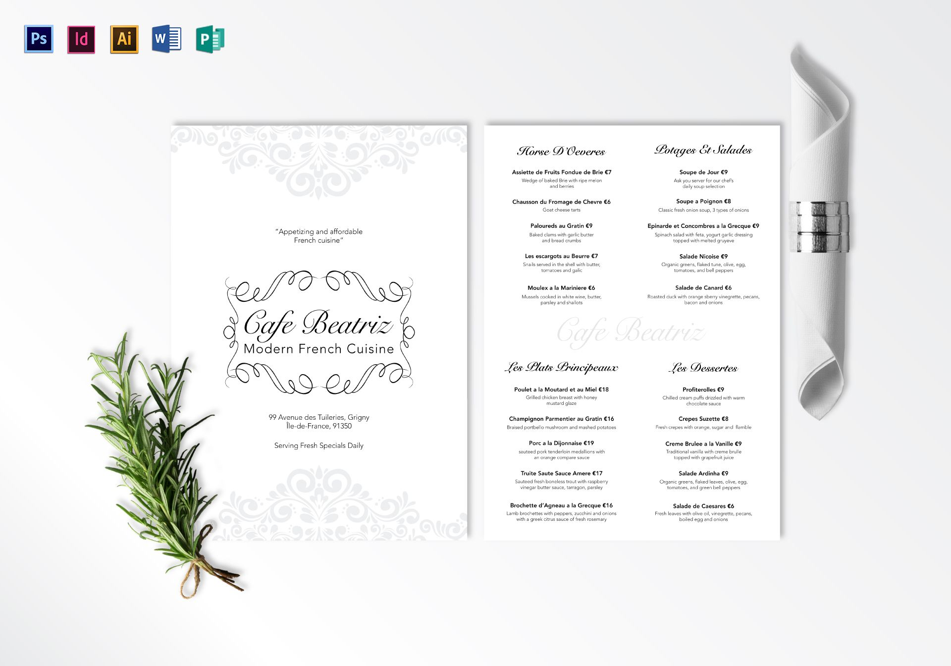 french cafe menu template - modern french menu design template in psd word publisher