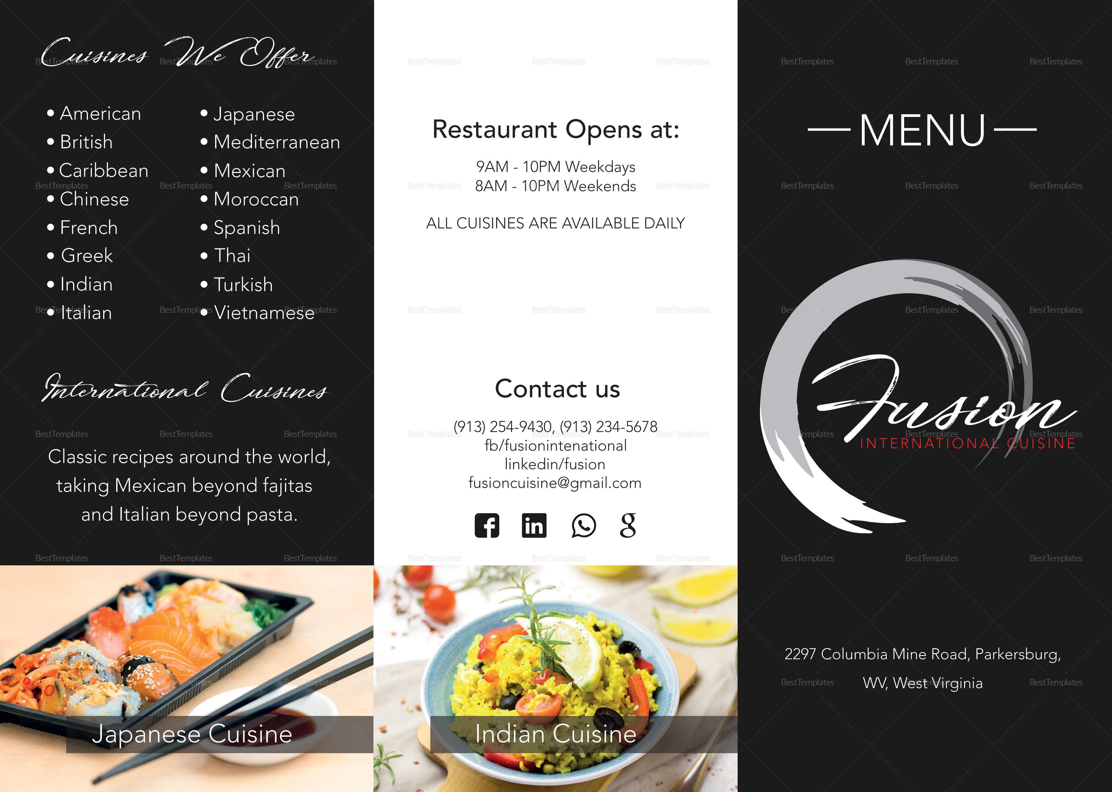 cuisine tri fold menu design template in psd word publisher
