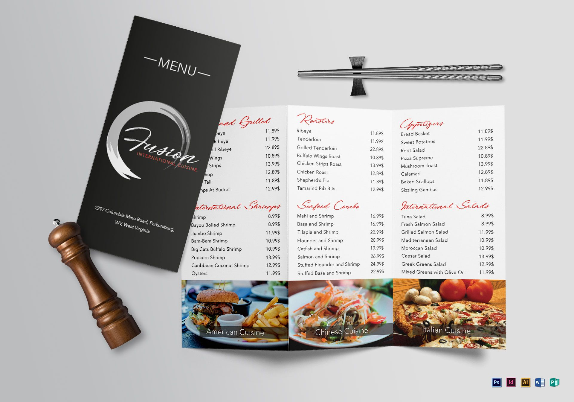 cuisine tri fold menu design template in psd word publisher