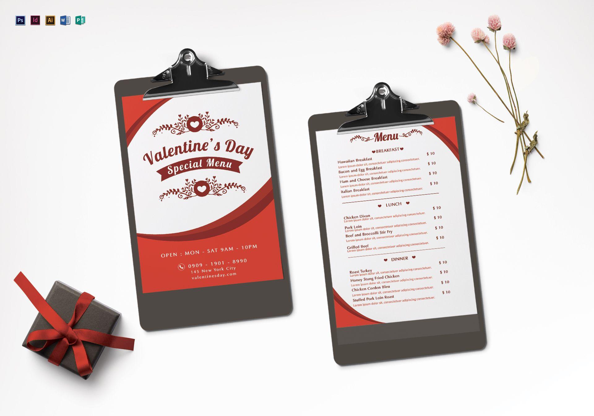 Valentines Menu Design Template