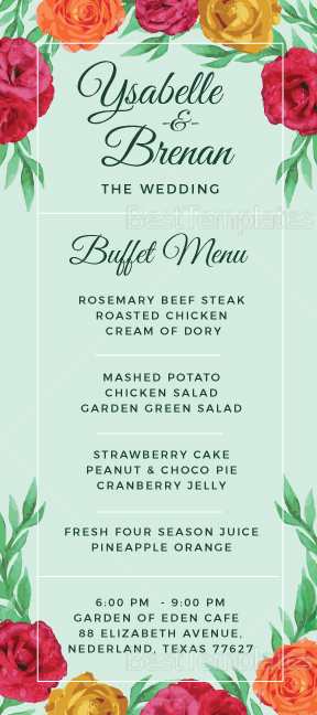 Sample Wedding Buffet Menu