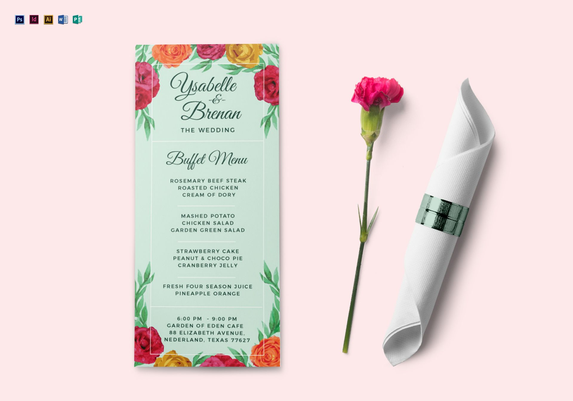 wedding buffet menu design template in psd word publisher